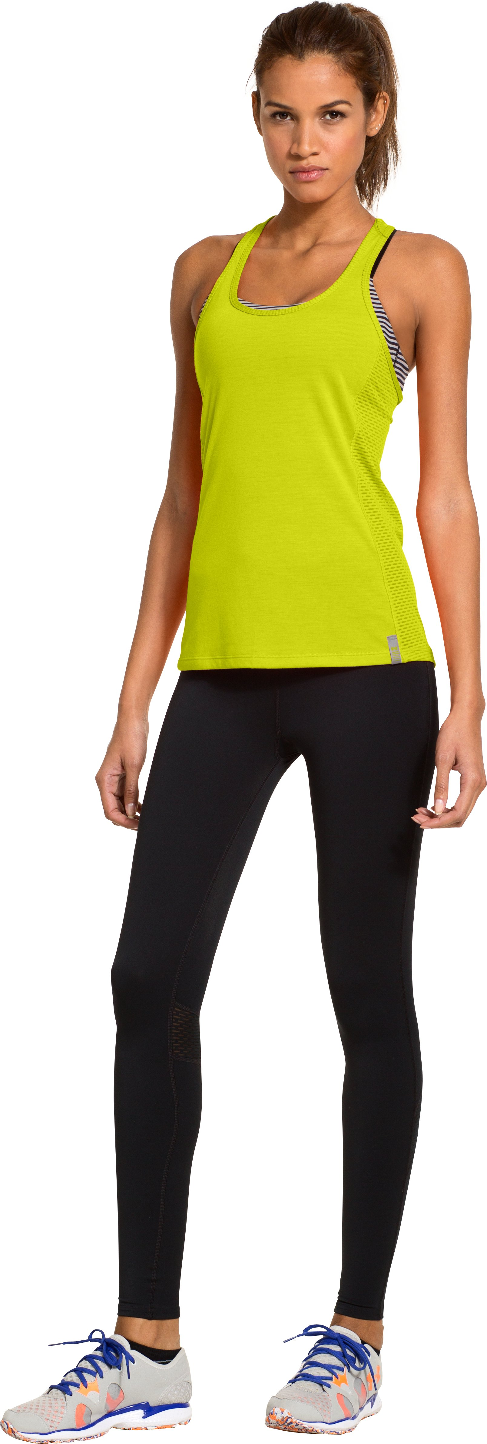 Women's UA Fly-By Stretch Mesh Tank, Bitter, Front