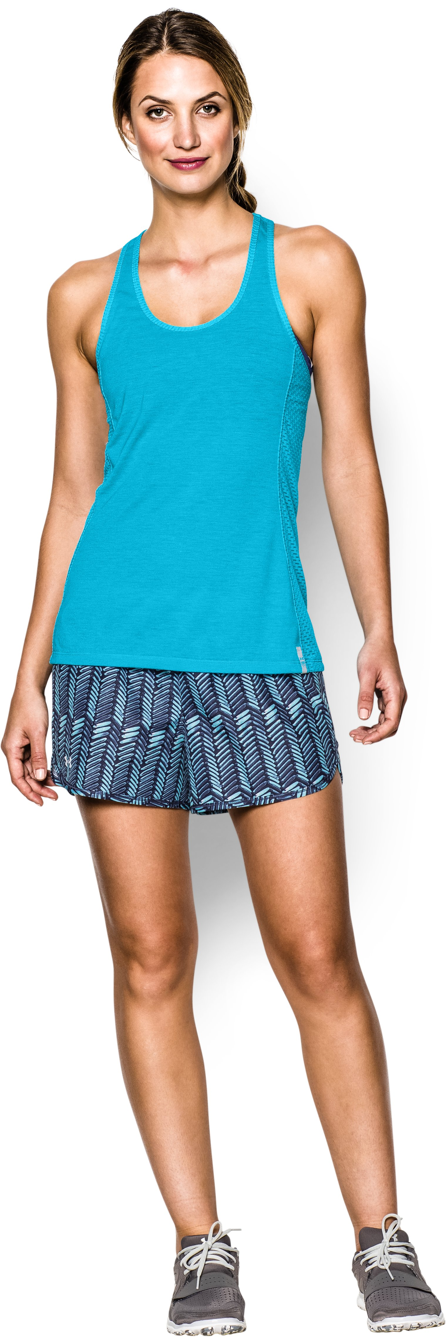Women's UA Fly-By Stretch Mesh Tank, ISLAND BLUES, Front