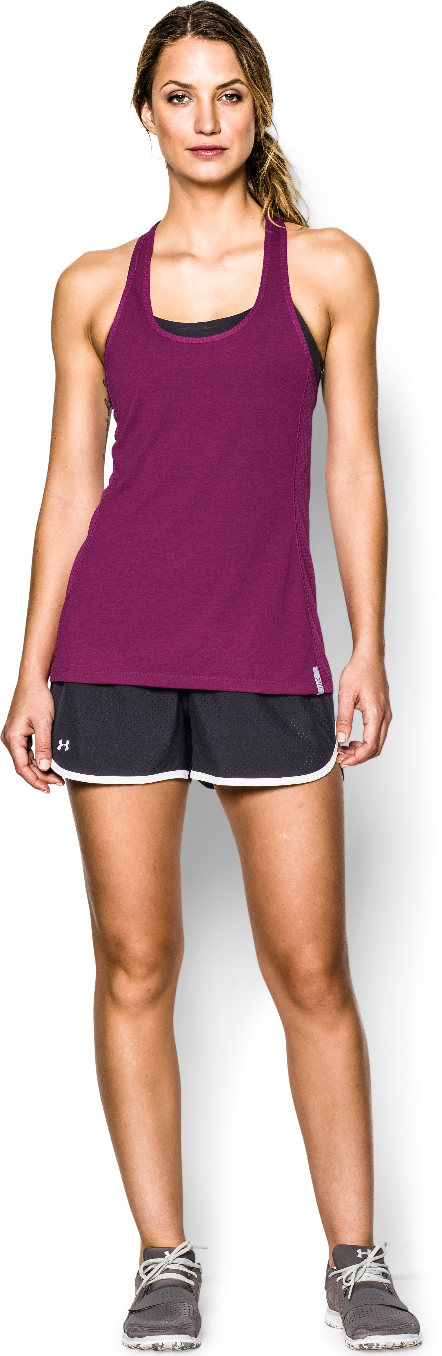 Women's UA Fly-By Stretch Mesh Tank, Aubergine, Front
