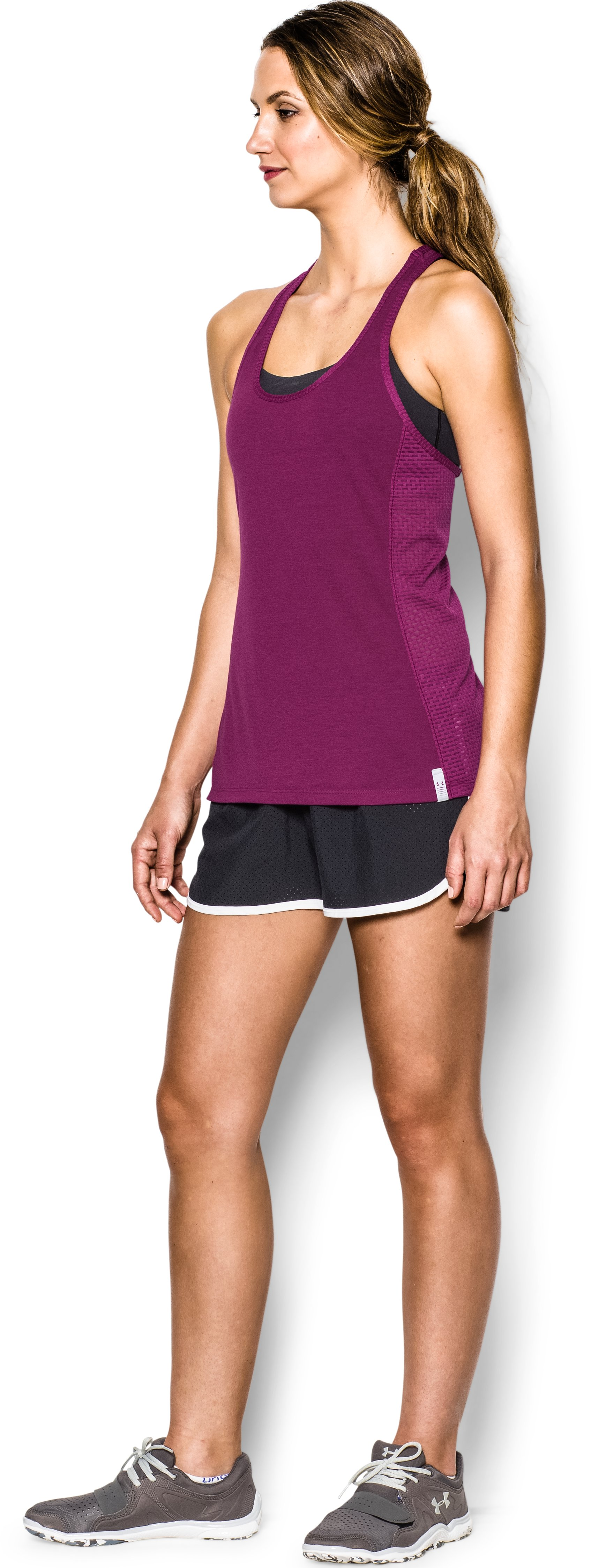 Women's UA Fly-By Stretch Mesh Tank, Aubergine