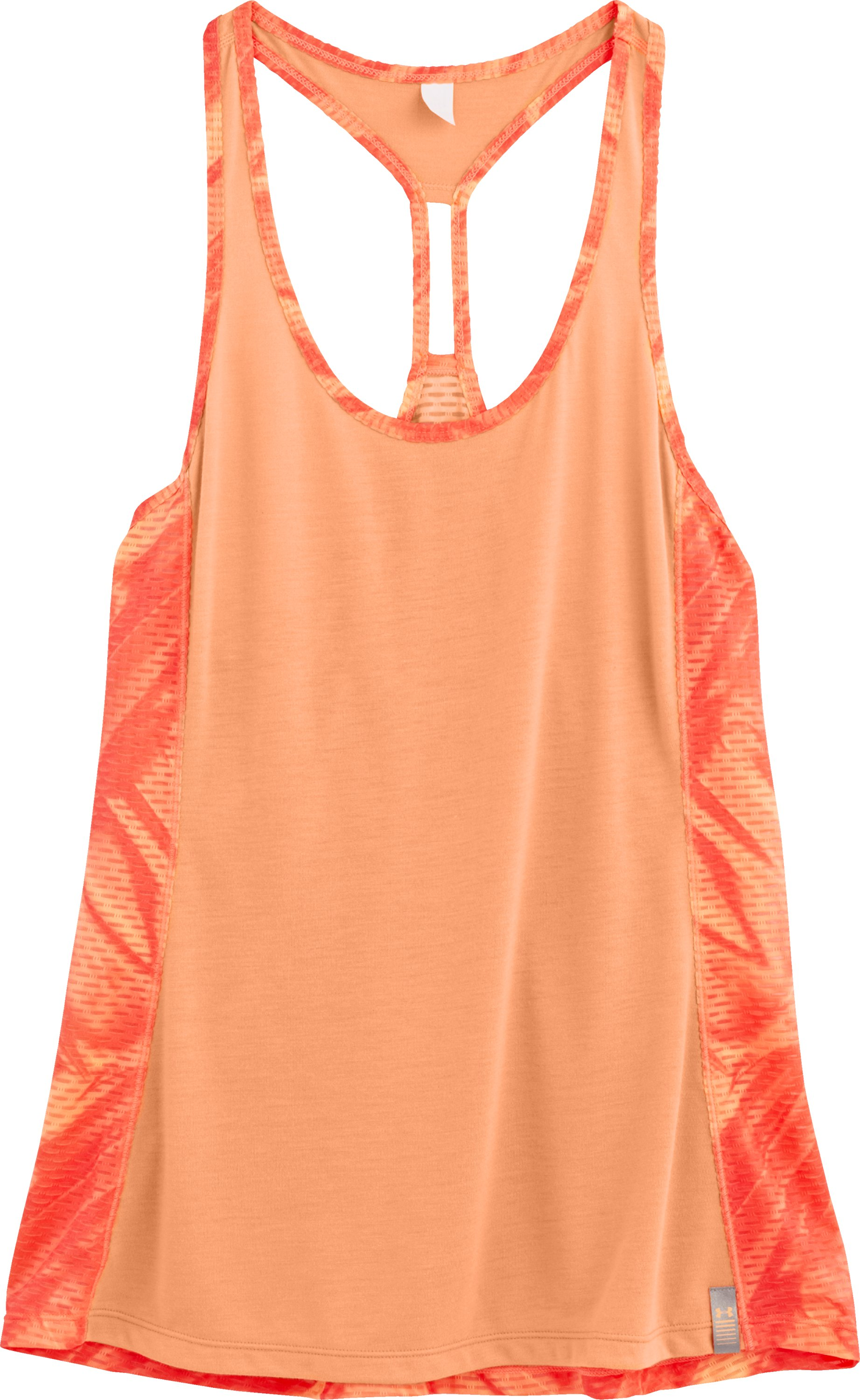 Women's UA Fly-By Printed Mesh Tank, Afterglow, Laydown