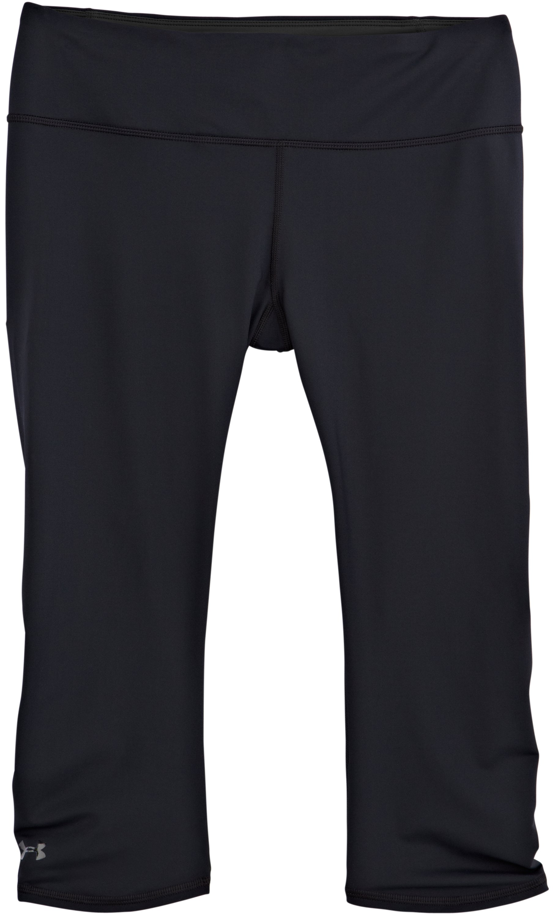 Women's HeatGear® ArmourVent™ Capri, Black , Laydown