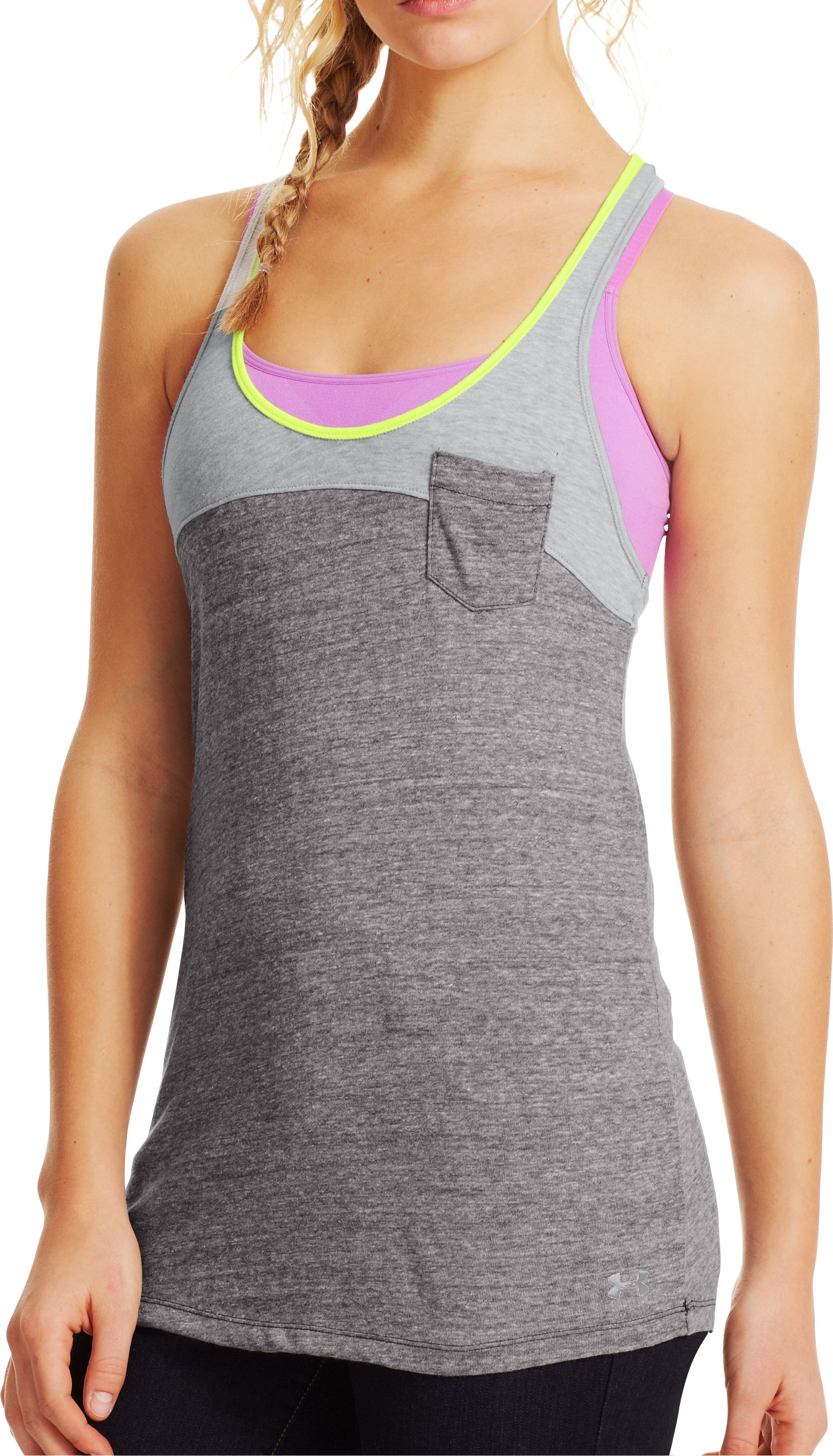 Women's Charged Cotton® Legacy Tank, Charcoal, zoomed image
