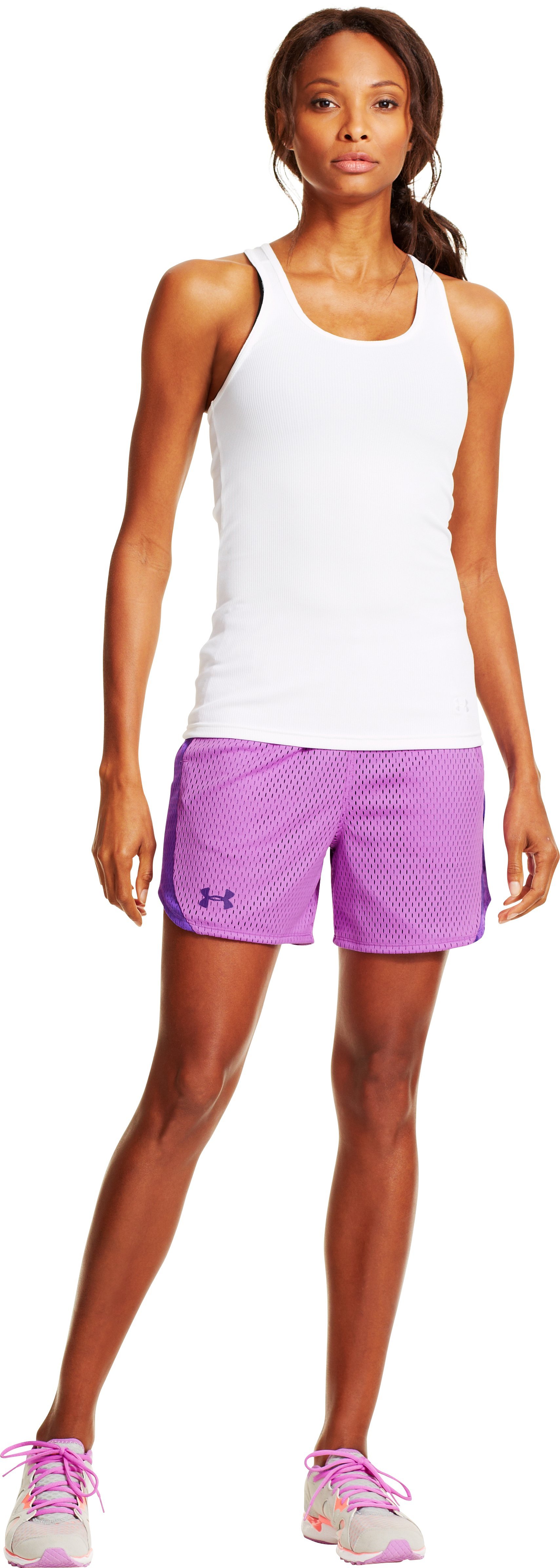 Women's UA Trophy Shorts, EXOTIC BLOOM, Front