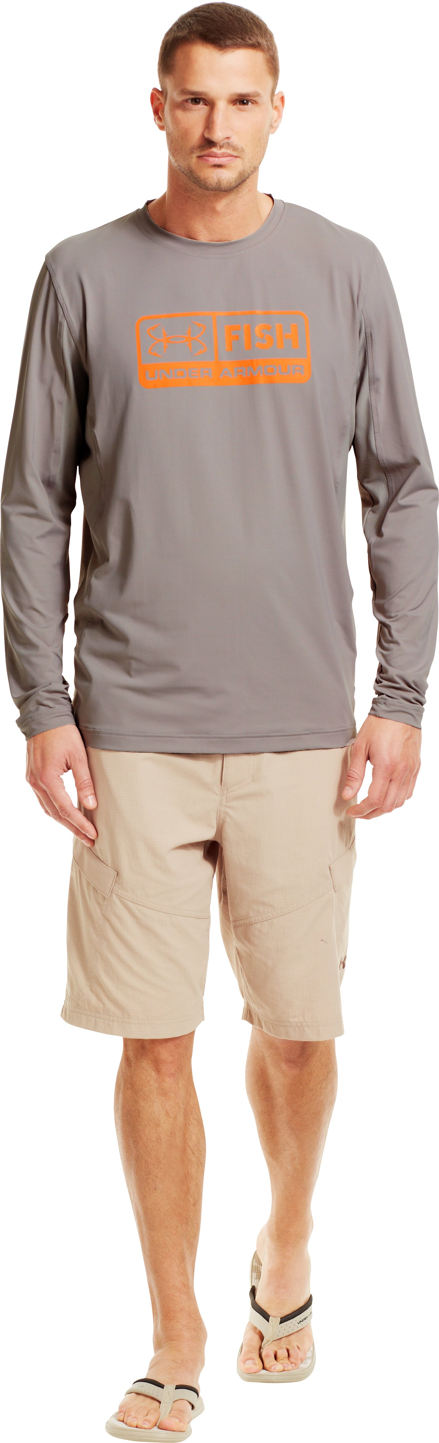 Men's UA Iso-Chill Long Sleeve Shirt, BOULDER, Front