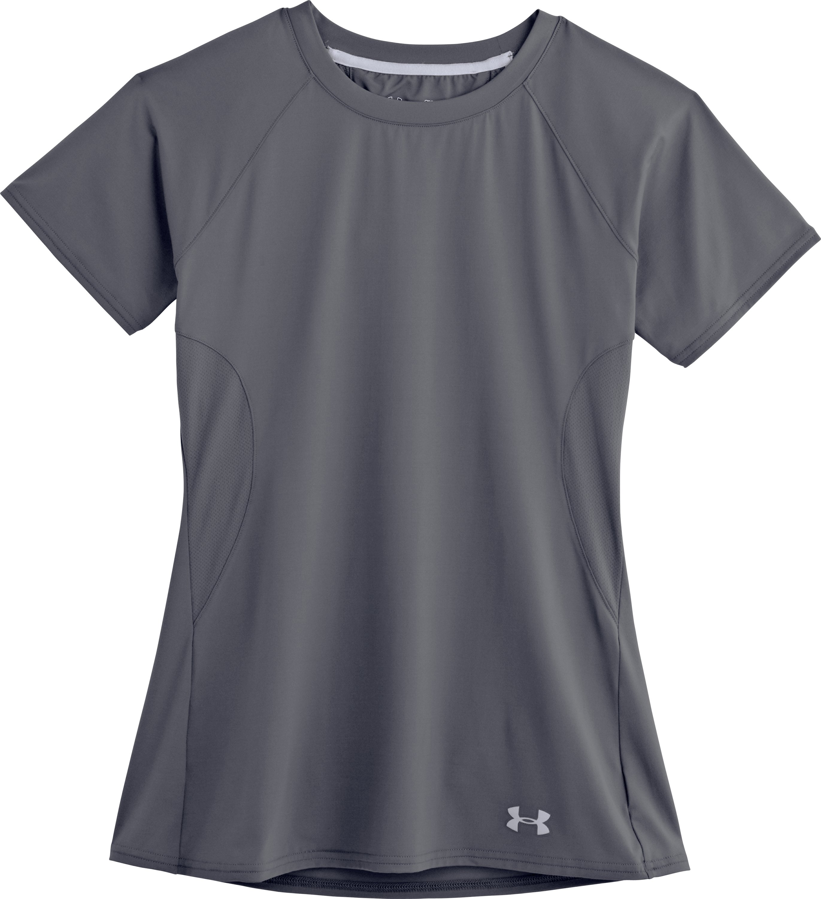Women's UA Iso-Chill Short Sleeve, Lead, Laydown