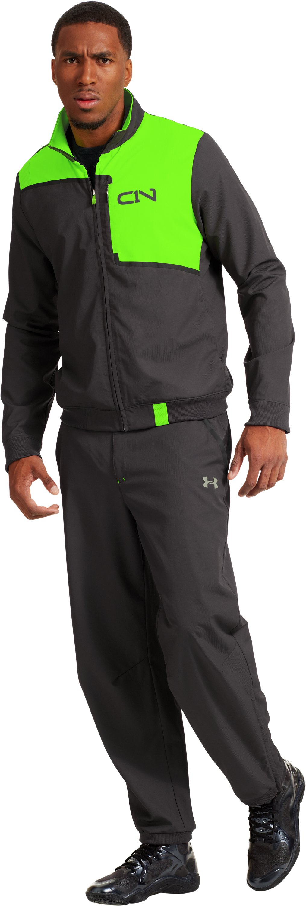 Men's C1N A.K.A. Warm-Up Jacket, HYPER GREEN, Front