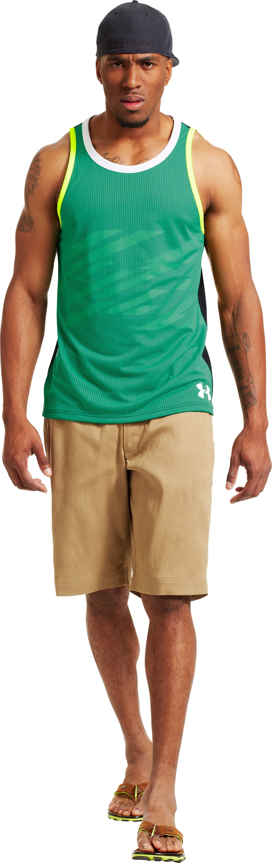 Men's UA See An Openin Tank, EMERALD LAKE, Front