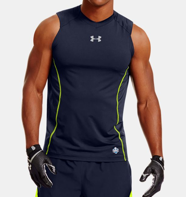 Men s nfl combine authentic fitted sleeveless shirt for Under armour nfl shirts