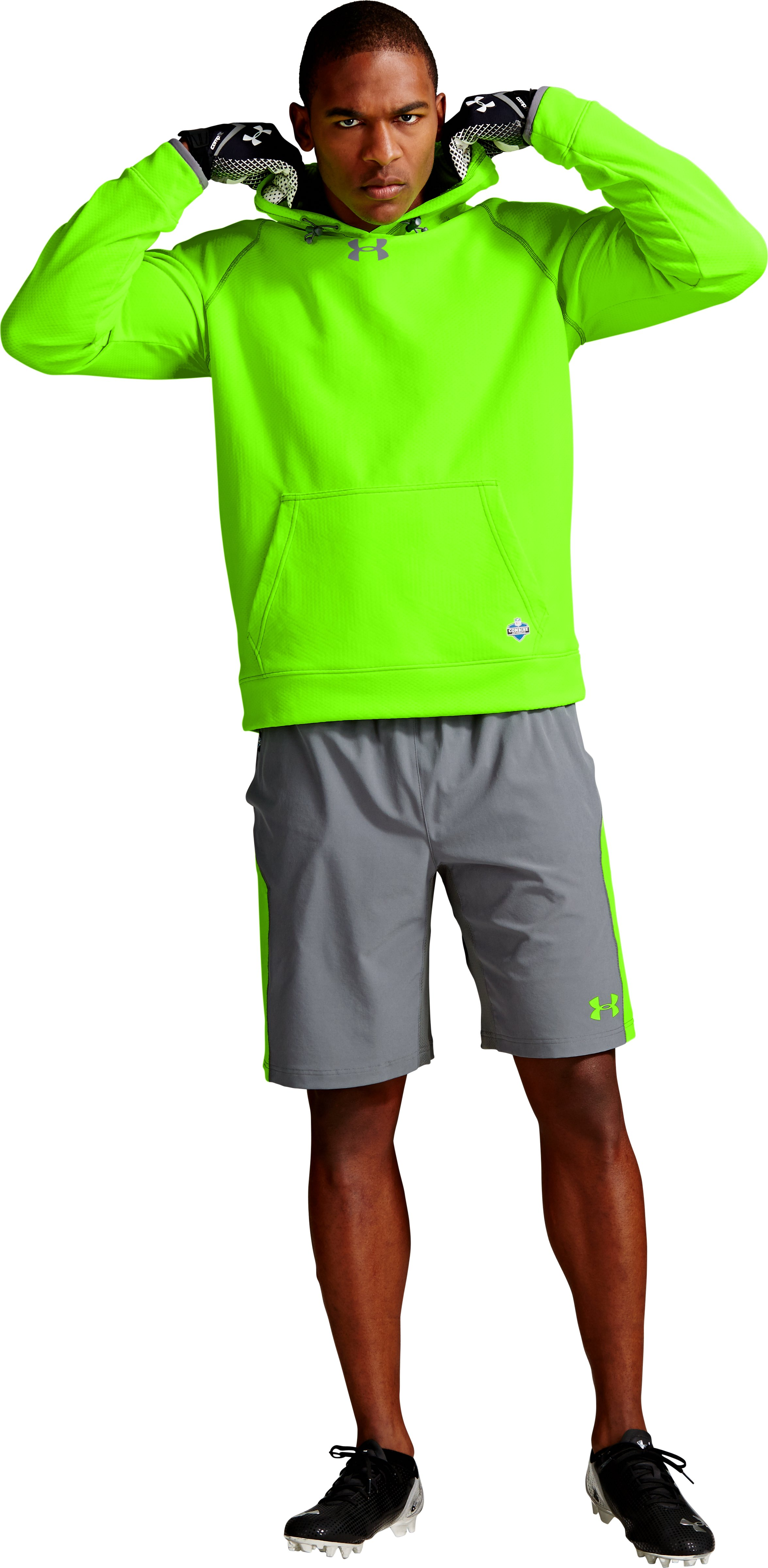 Men's NFL Combine Authentic ColdGear® Infrared Hoodie, HYPER GREEN, zoomed image