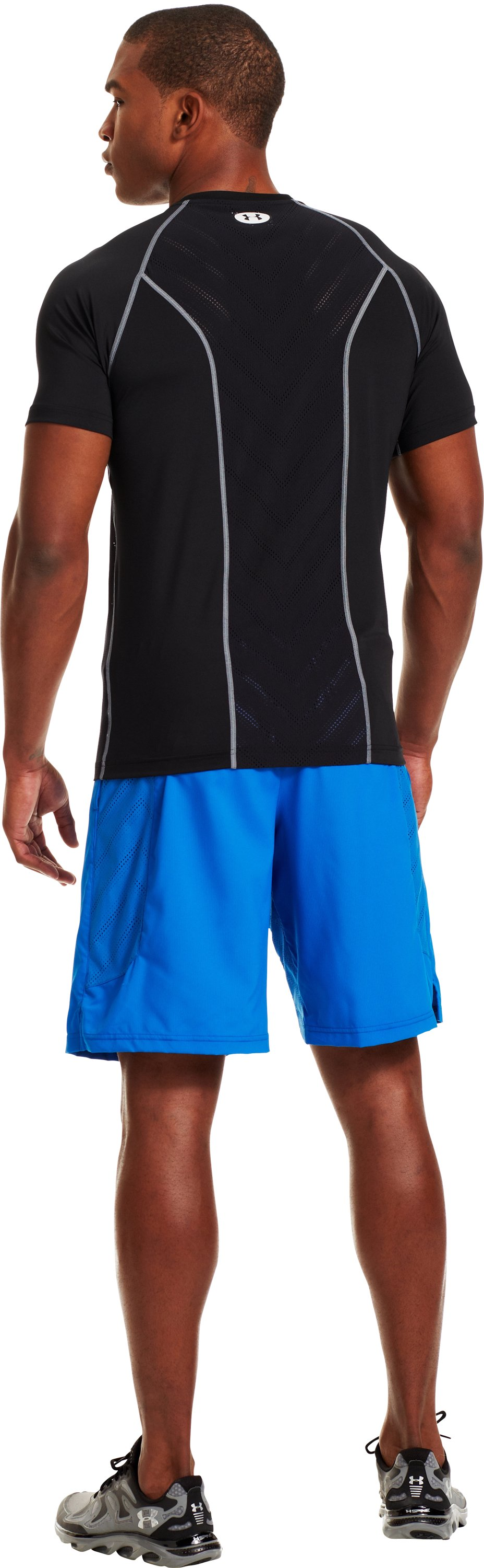 Men's HeatGear® Sonic ArmourVent™ Short Sleeve, Black , Back