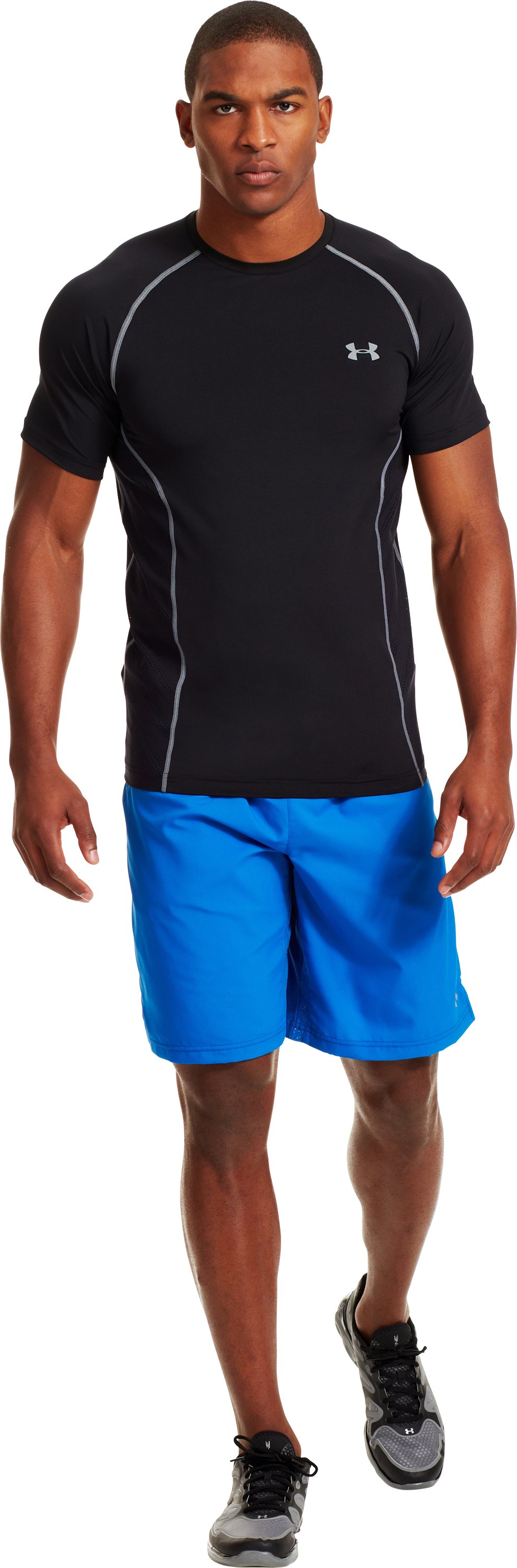 Men's HeatGear® Sonic ArmourVent™ Short Sleeve, Black , Front