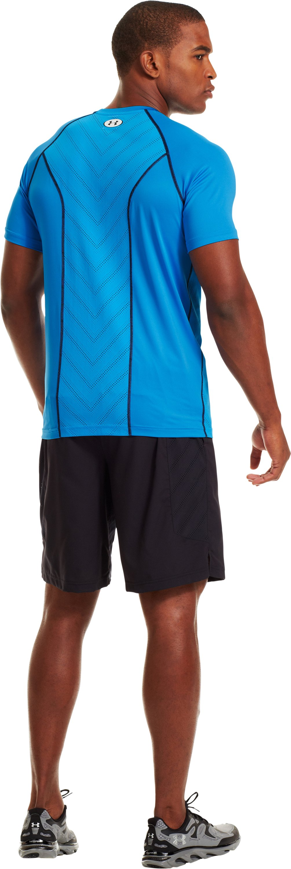 Men's HeatGear® Sonic ArmourVent™ Short Sleeve, ELECTRIC BLUE, Back