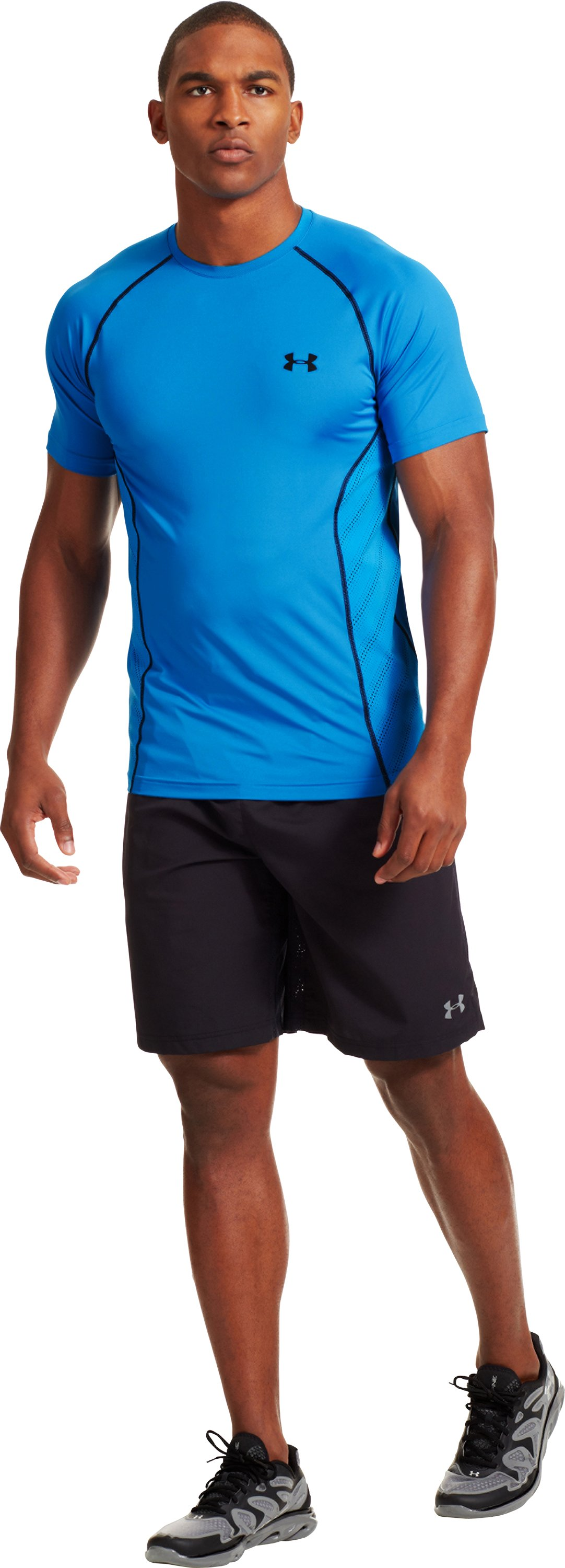 Men's HeatGear® Sonic ArmourVent™ Short Sleeve, ELECTRIC BLUE, Front