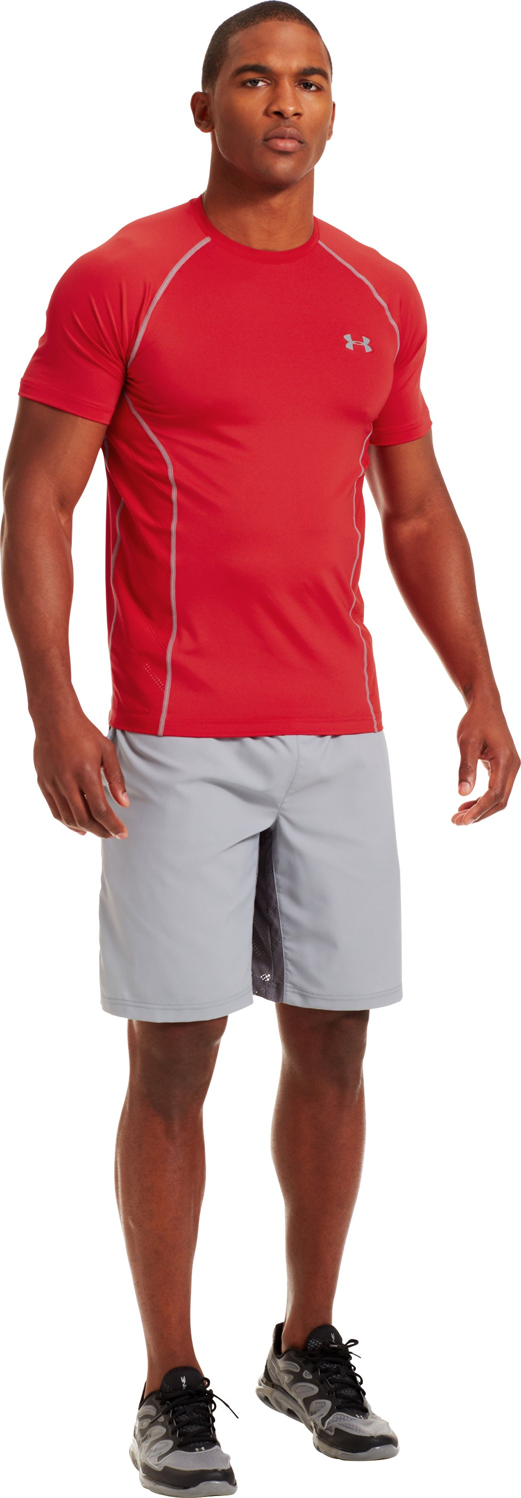 Men's HeatGear® Sonic ArmourVent™ Short Sleeve, Red, Front