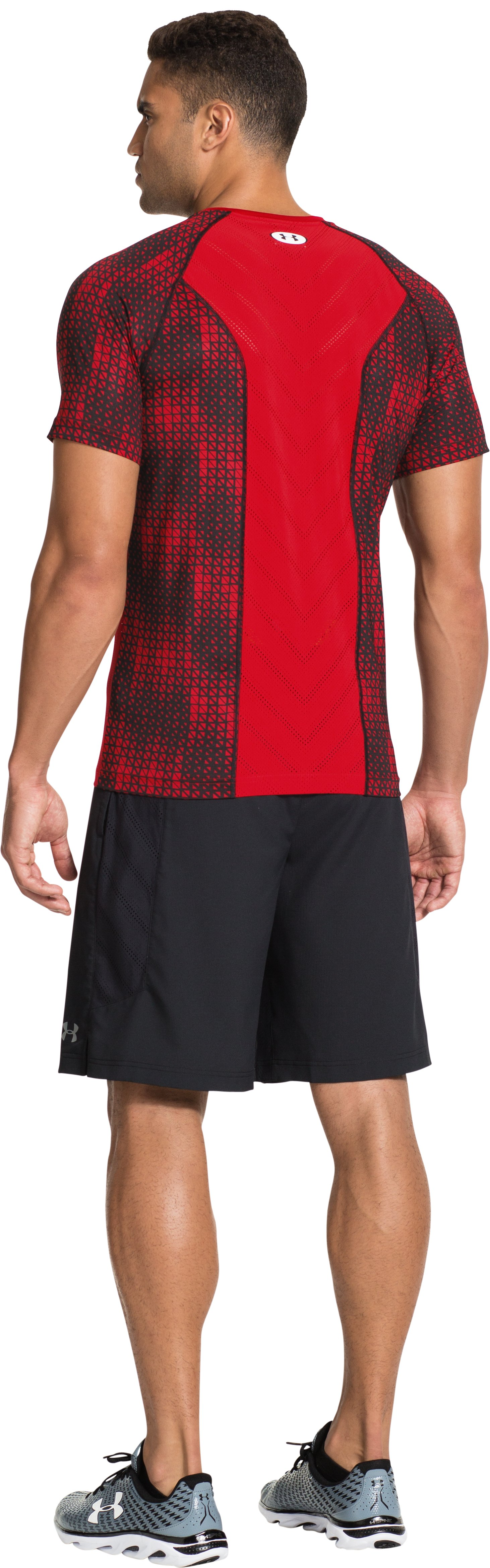 Men's HeatGear® Sonic ArmourVent™ Short Sleeve, RISK RED, Back