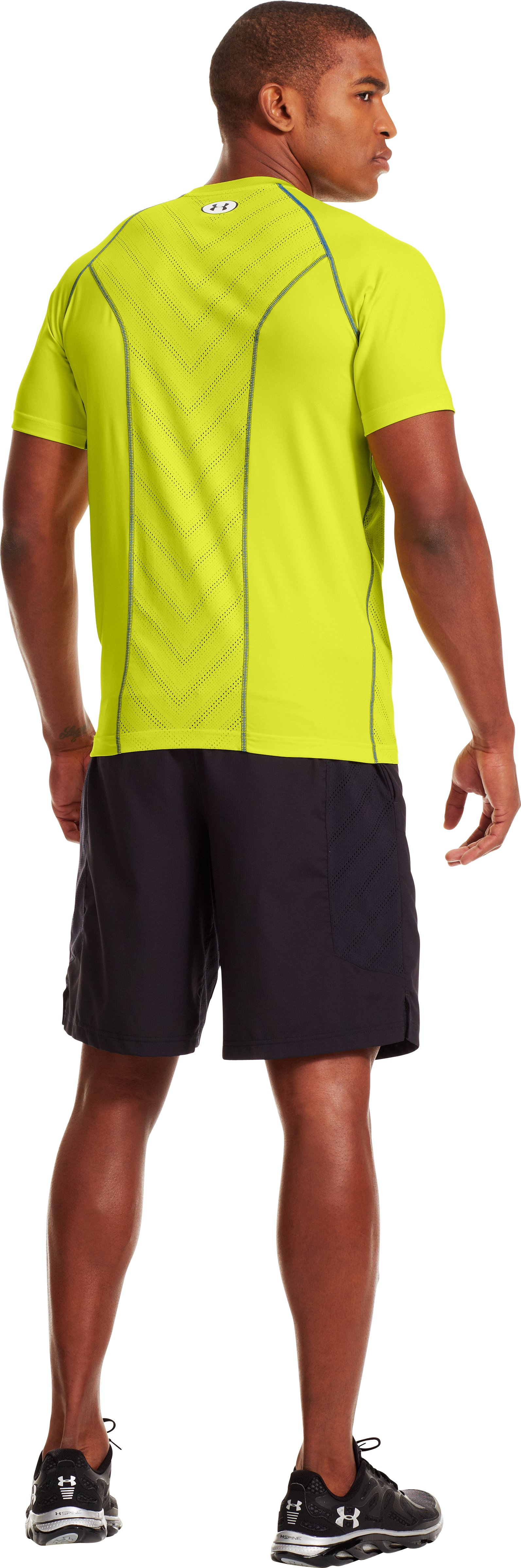 Men's HeatGear® Sonic ArmourVent™ Short Sleeve, Flash Light, Back