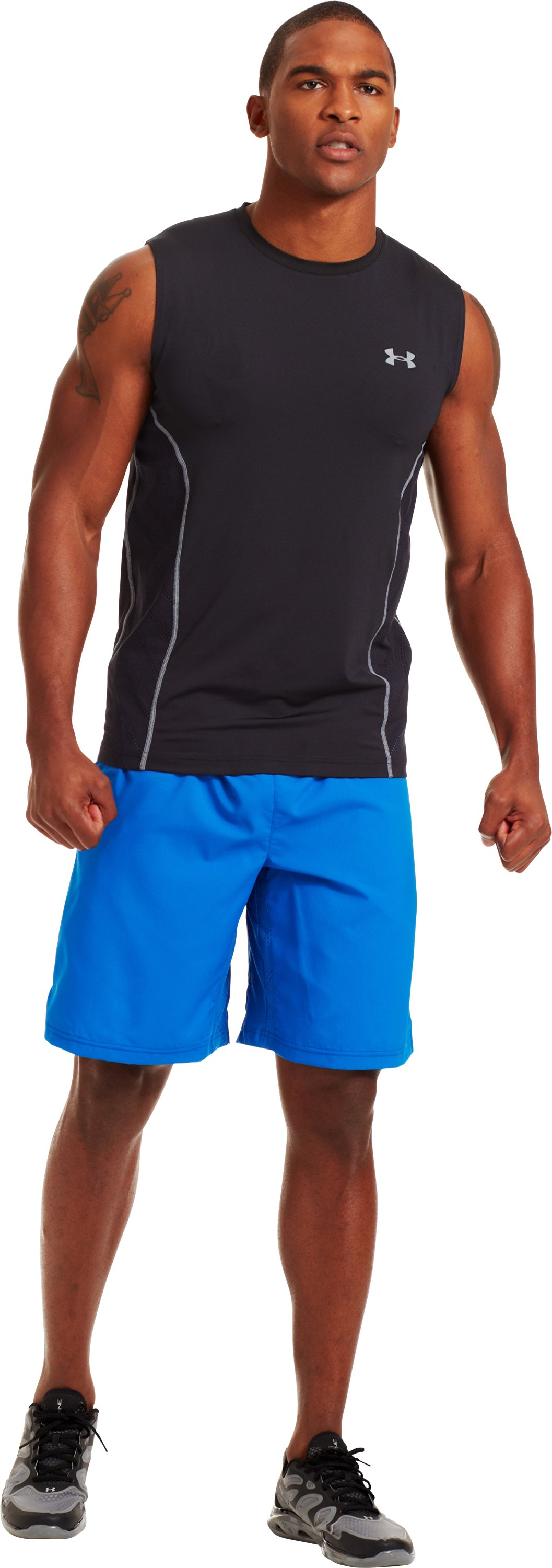 Men's HeatGear® Sonic ArmourVent™ Sleeveless, Black , zoomed image