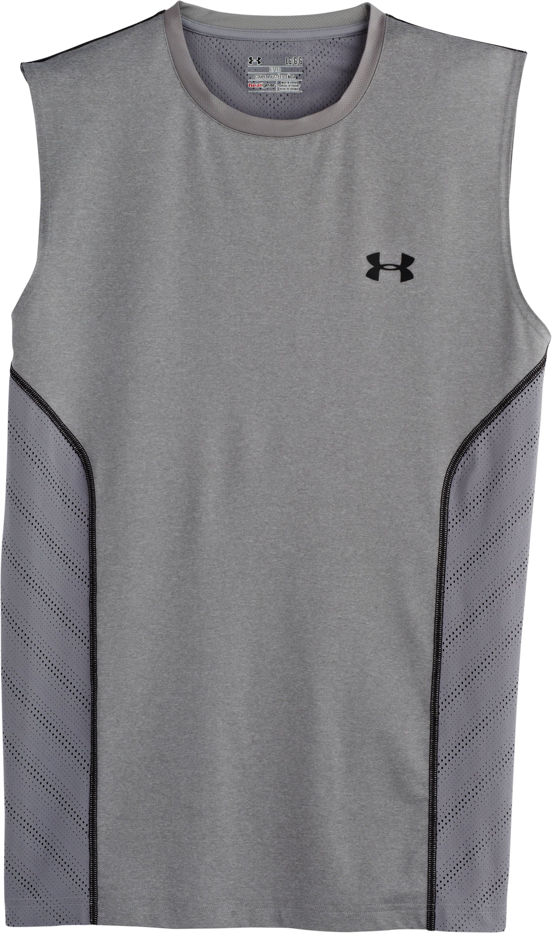 Men's HeatGear® Sonic ArmourVent™ Sleeveless, True Gray Heather, Laydown