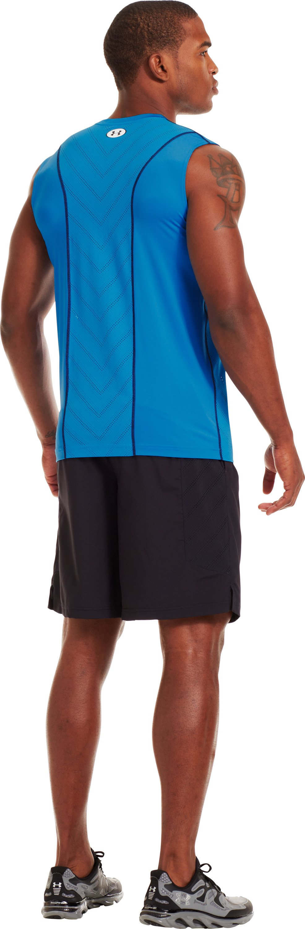 Men's HeatGear® Sonic ArmourVent™ Sleeveless, ELECTRIC BLUE, Back
