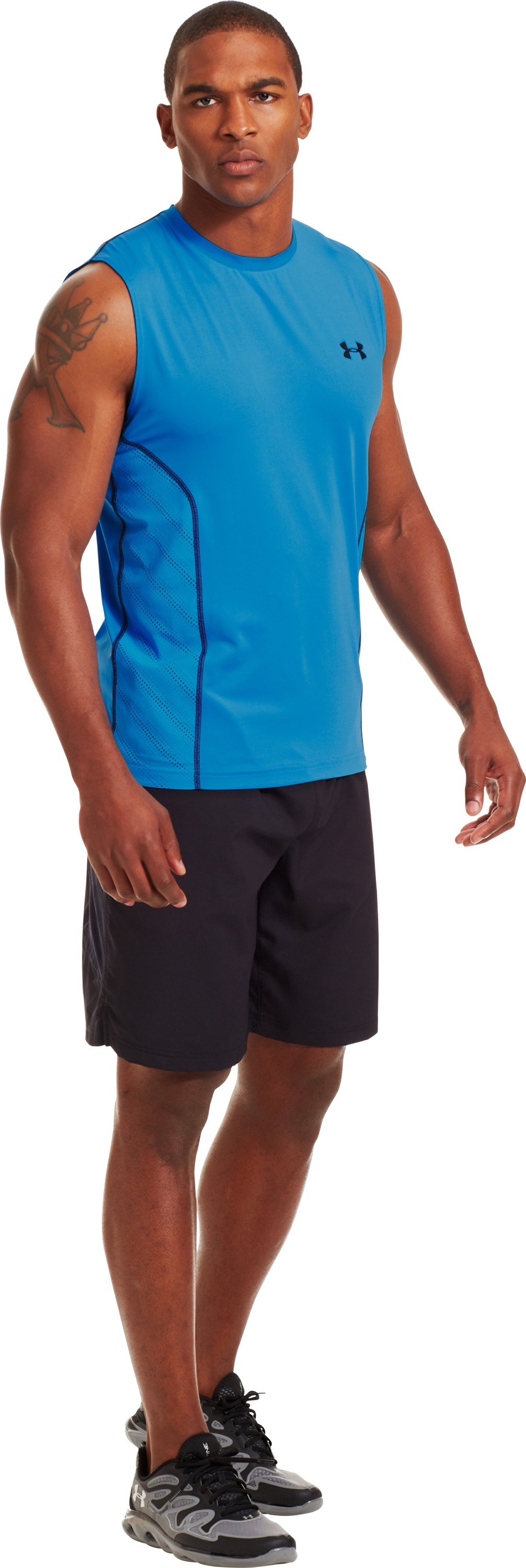 Men's HeatGear® Sonic ArmourVent™ Sleeveless, ELECTRIC BLUE, zoomed image