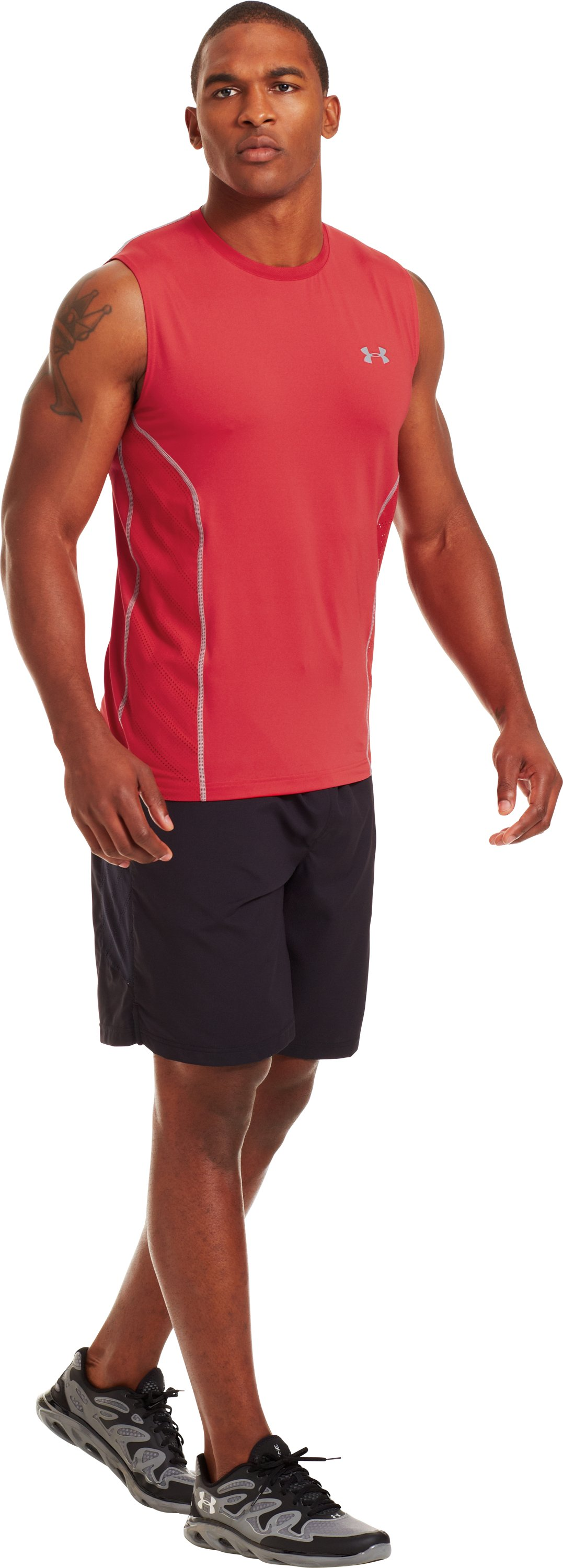Men's HeatGear® Sonic ArmourVent™ Sleeveless, Red, Front