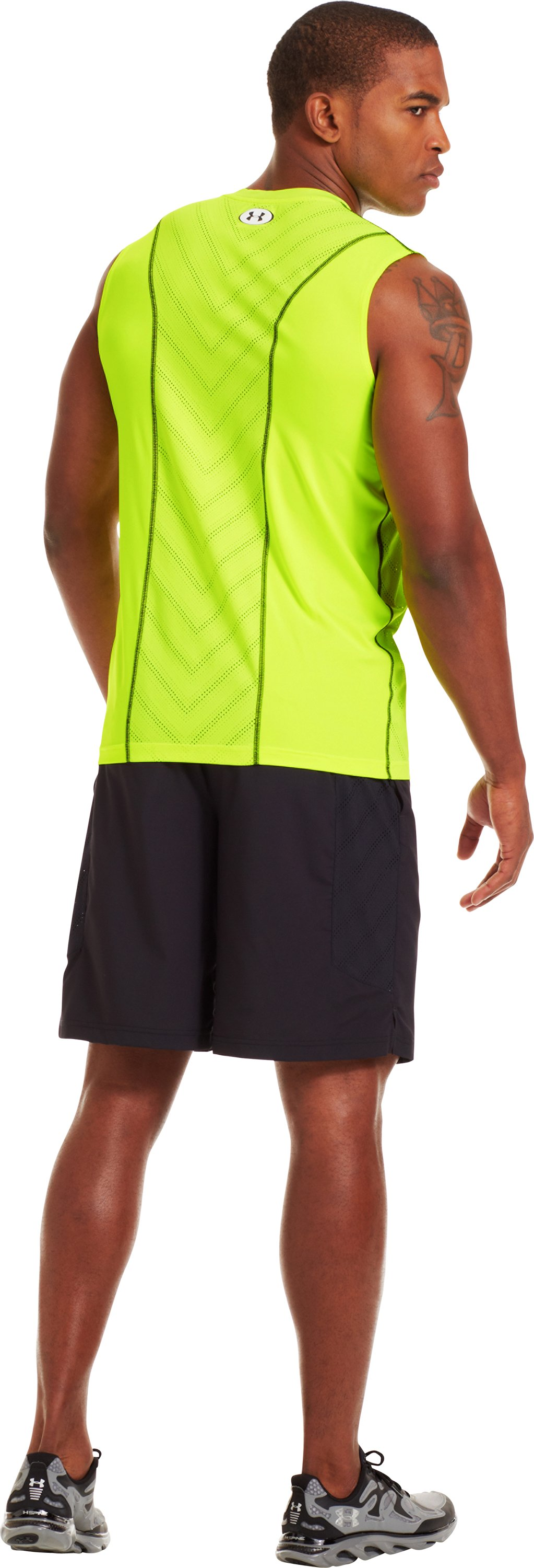 Men's HeatGear® Sonic ArmourVent™ Sleeveless, High-Vis Yellow, Back