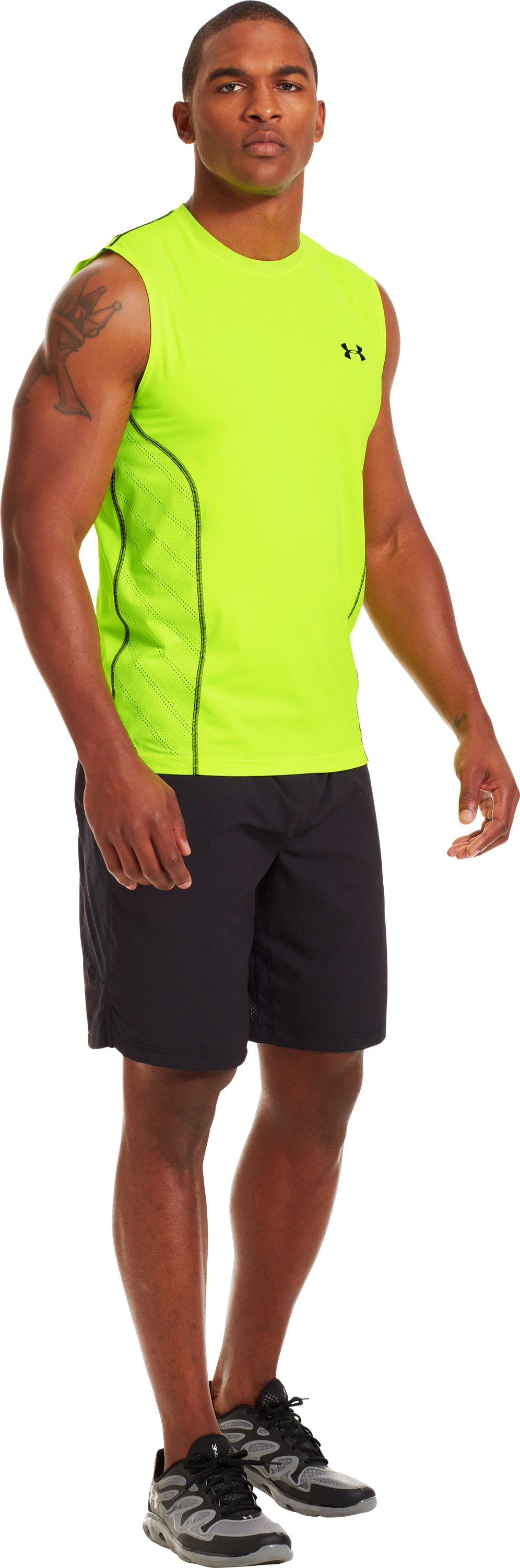 Men's HeatGear® Sonic ArmourVent™ Sleeveless, High-Vis Yellow, zoomed image