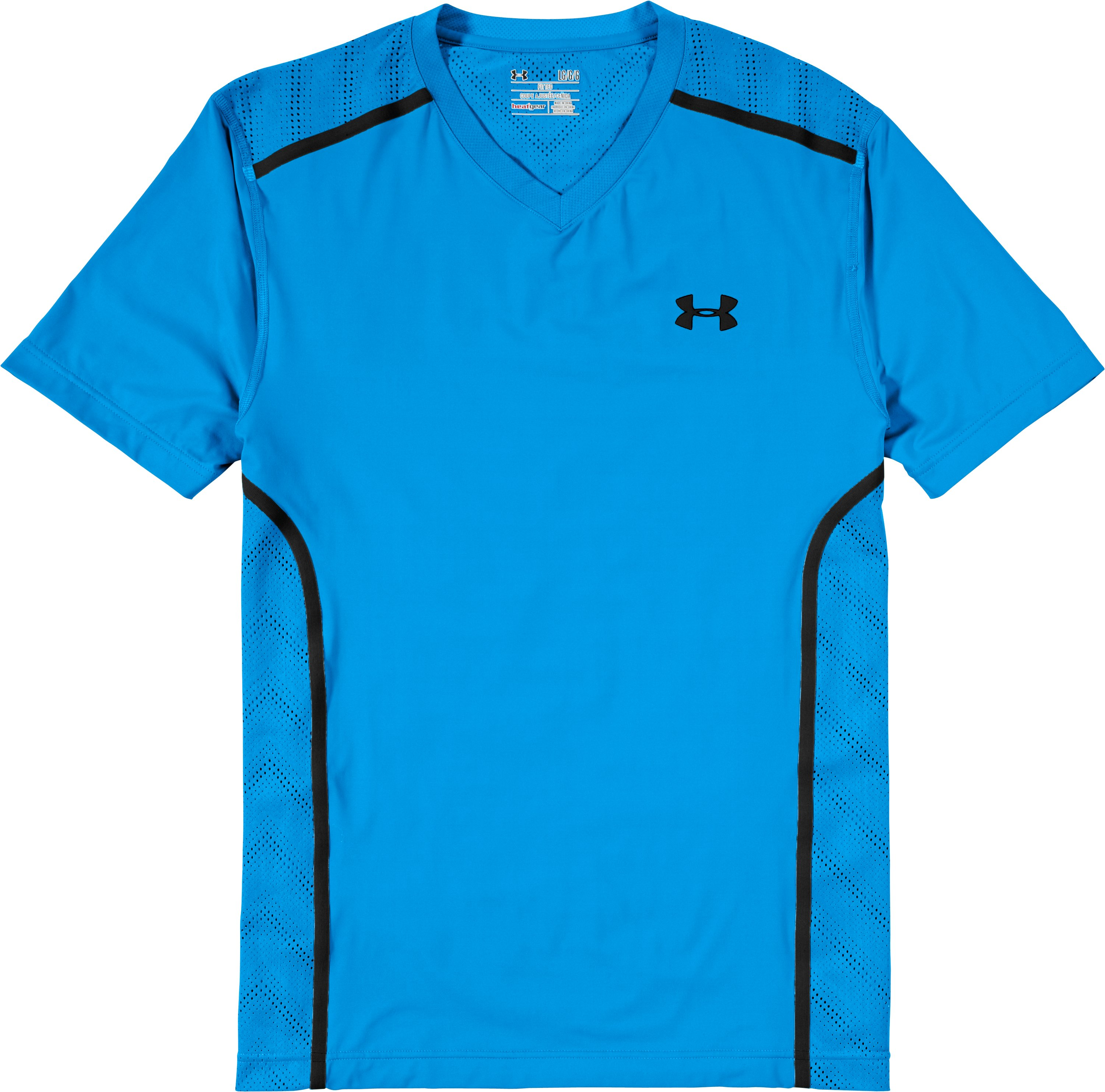 Men's HeatGear® ArmourVent™ Fitted Short Sleeve, ELECTRIC BLUE, Laydown