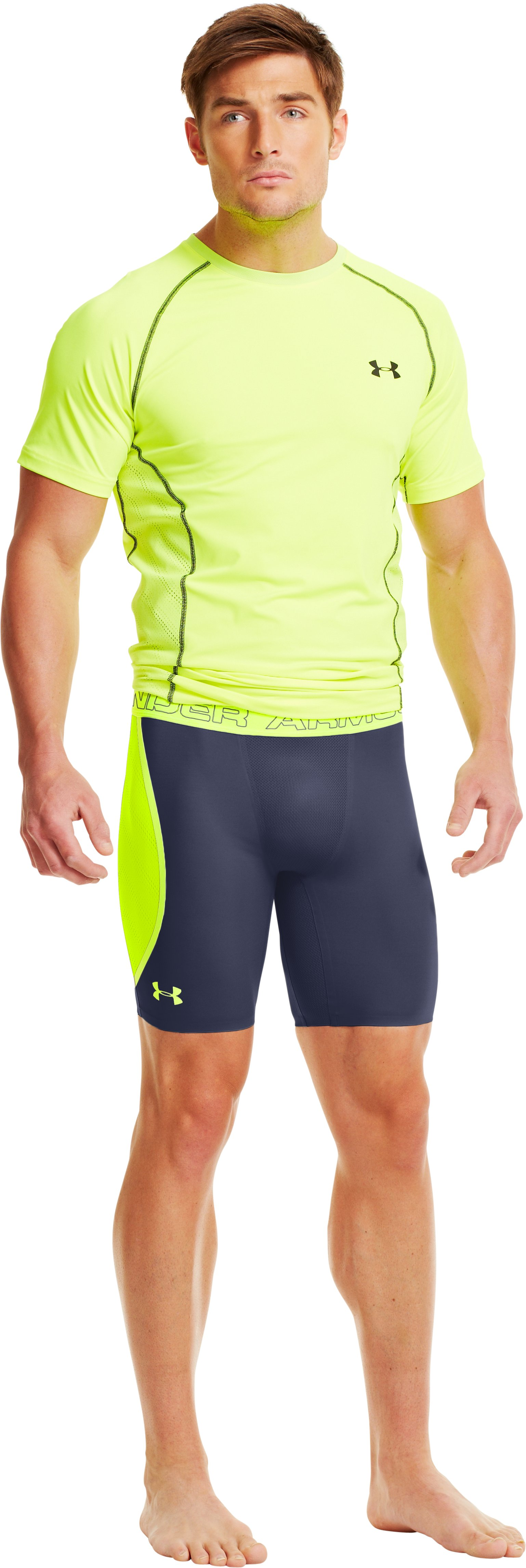 Men's HeatGear® ArmourVent™ Compression Shorts, Midnight Navy, Front