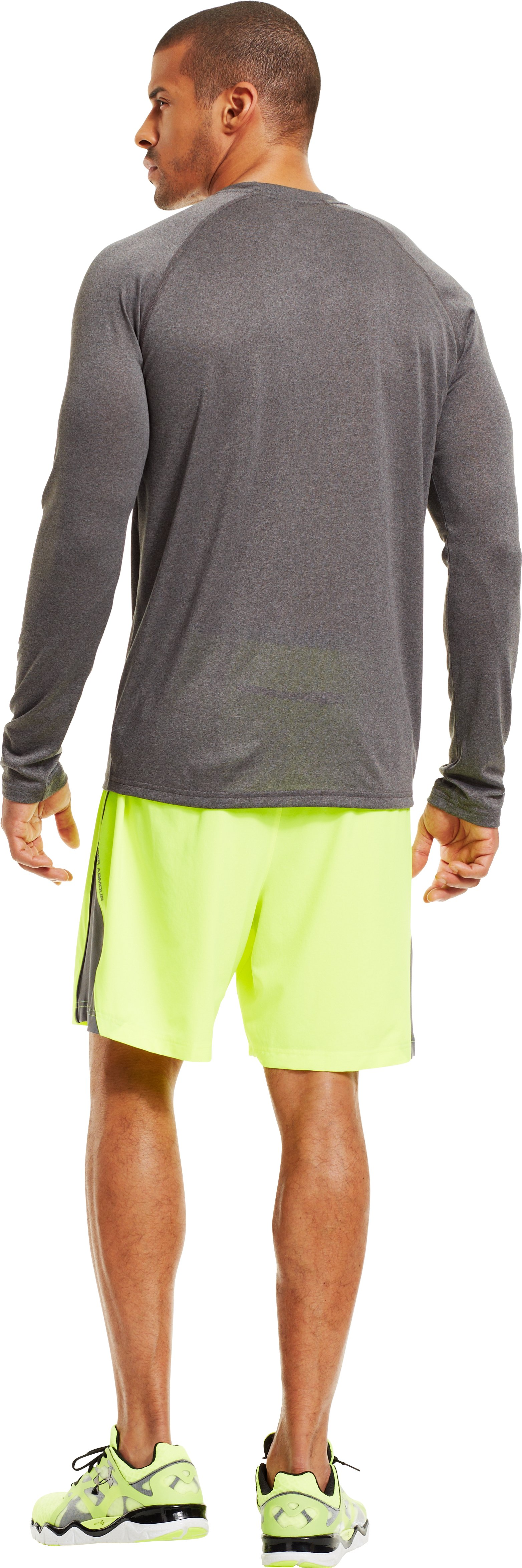 Men's UA Stop & Go Long Sleeve T-Shirt, Carbon Heather, Back
