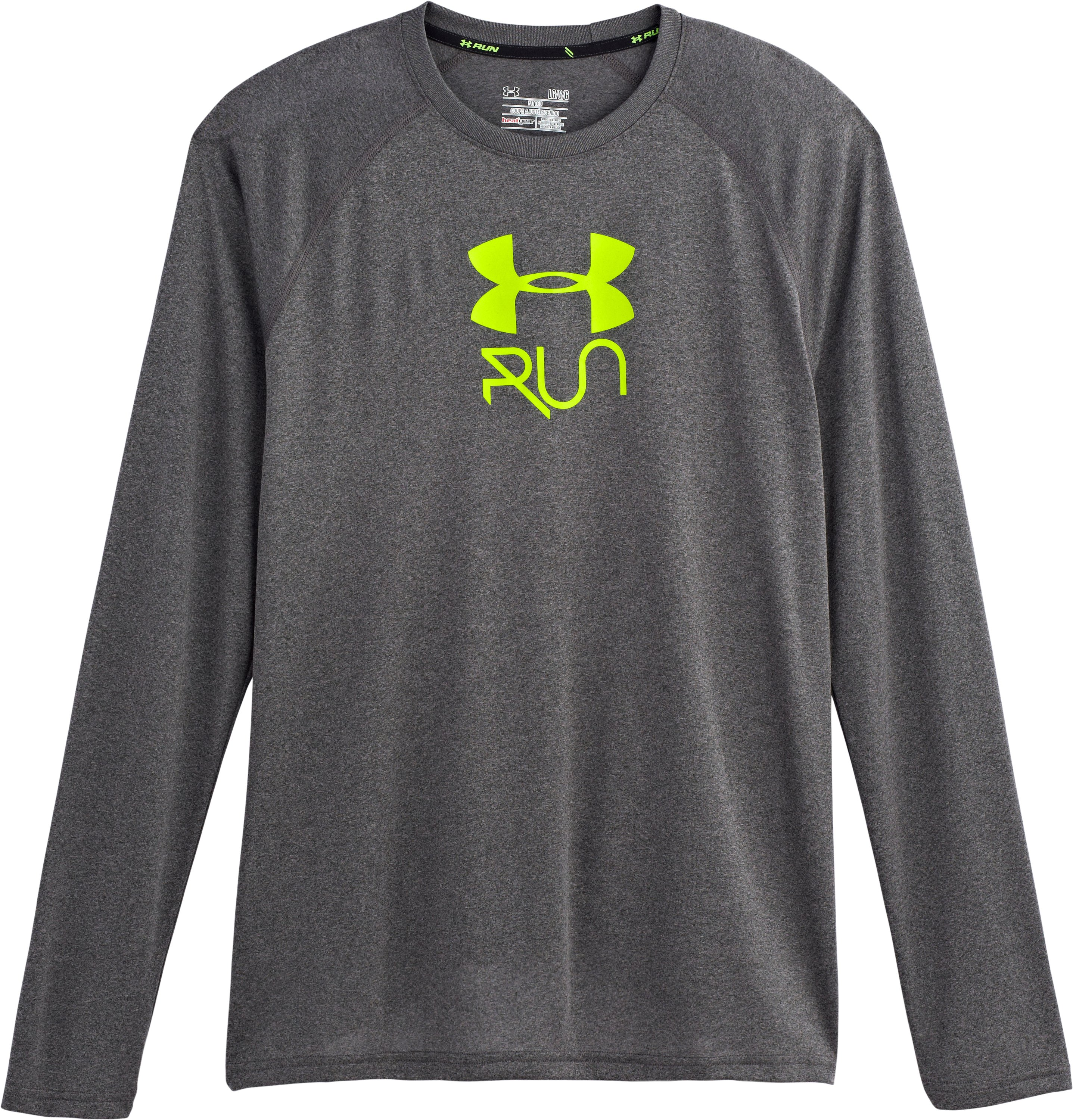 Men's UA Stop & Go Long Sleeve T-Shirt, Carbon Heather, Laydown
