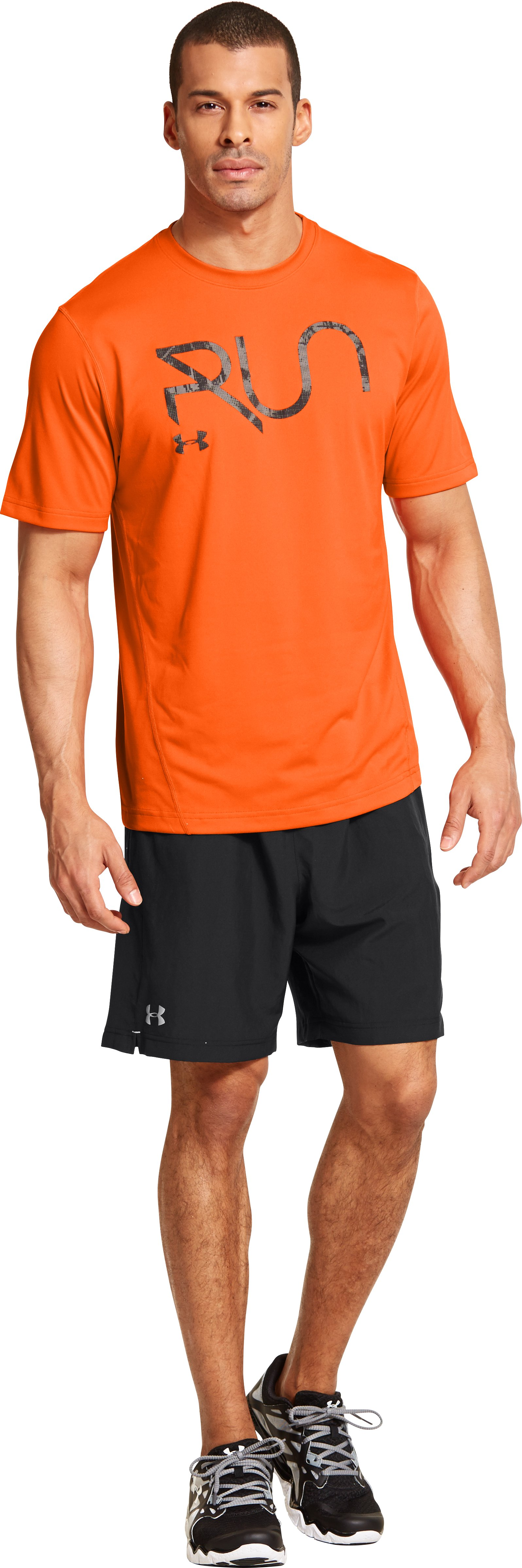 Men's UA All Over Grid T-Shirt, OUTRAGEOUS ORANGE, Front