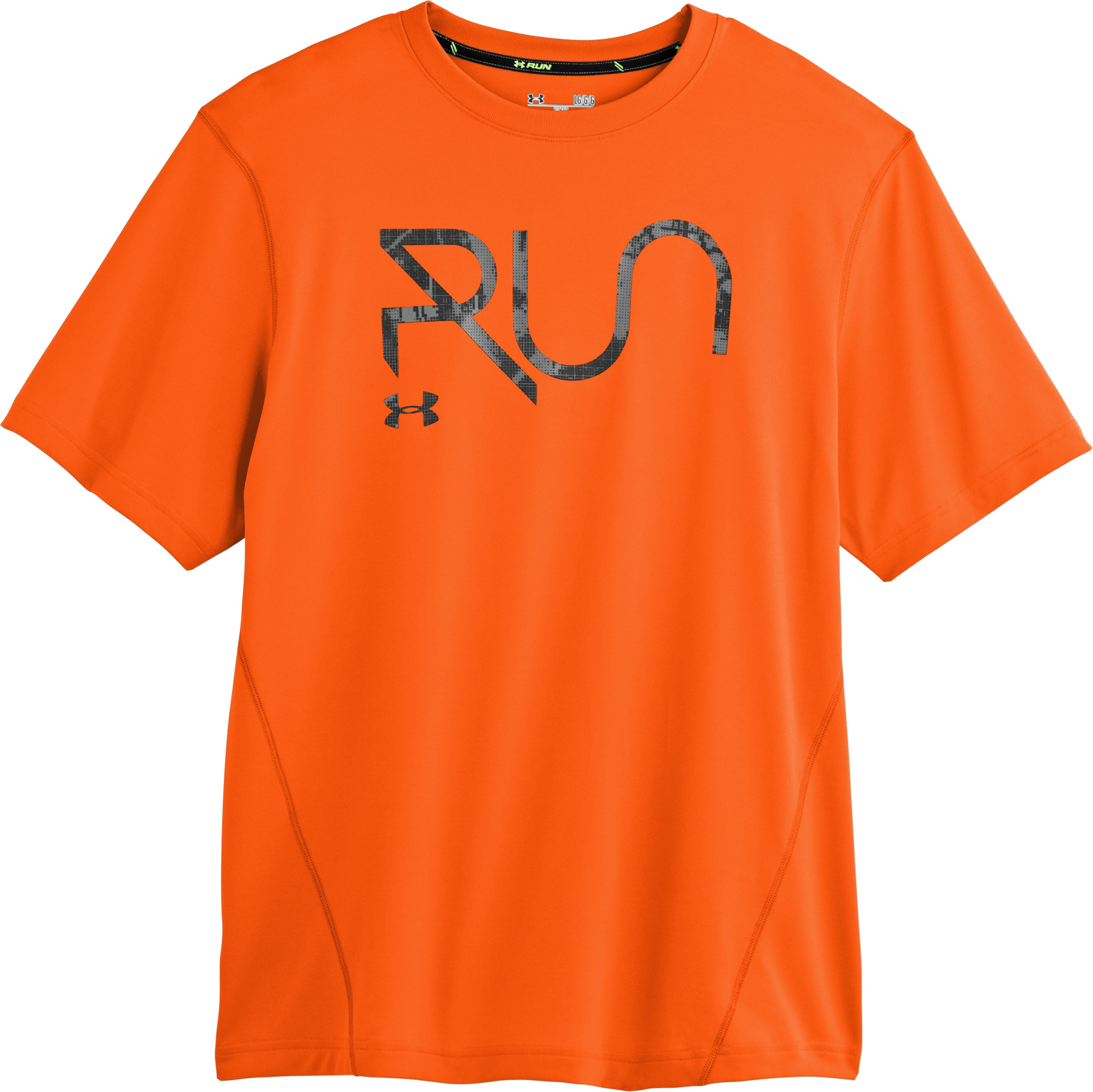 Men's UA All Over Grid T-Shirt, OUTRAGEOUS ORANGE, Laydown