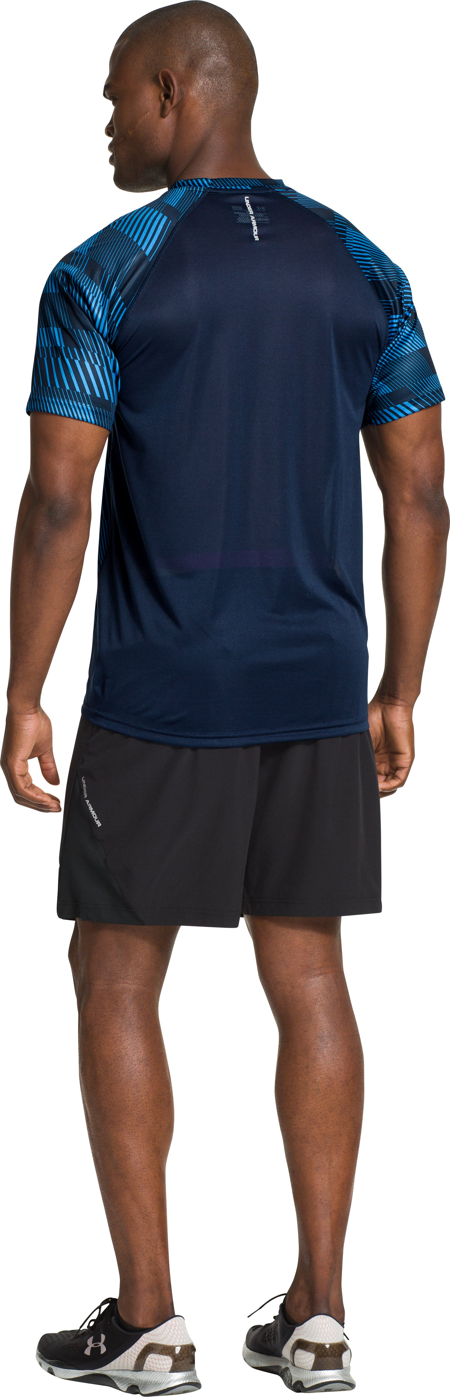 Men's HeatGear® Flyweight Run Short Sleeve, Academy, Back