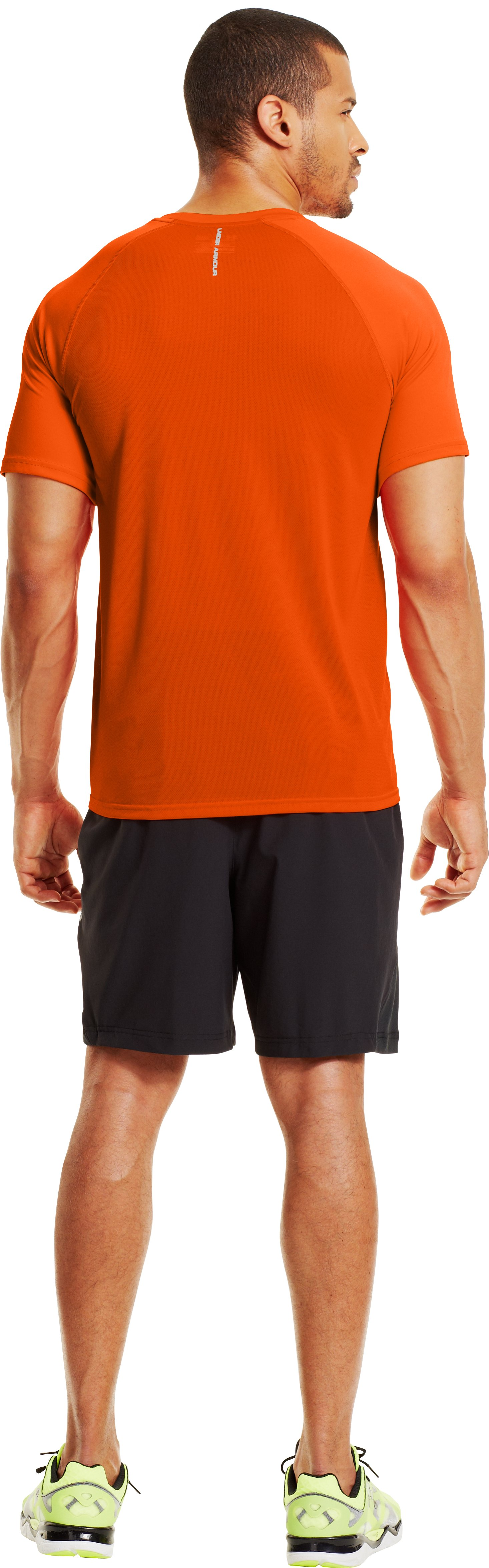 Men's HeatGear® Flyweight Run Short Sleeve, OUTRAGEOUS ORANGE, Back