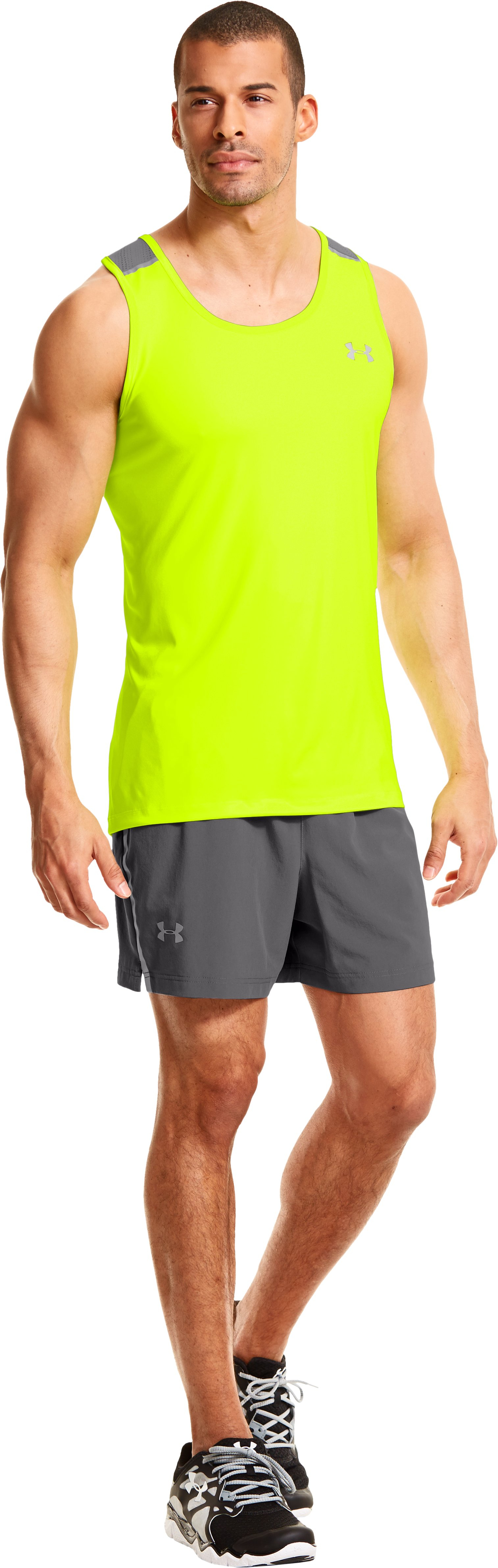 Men's HeatGear® ArmourVent™ Run Shorts, Graphite, Front