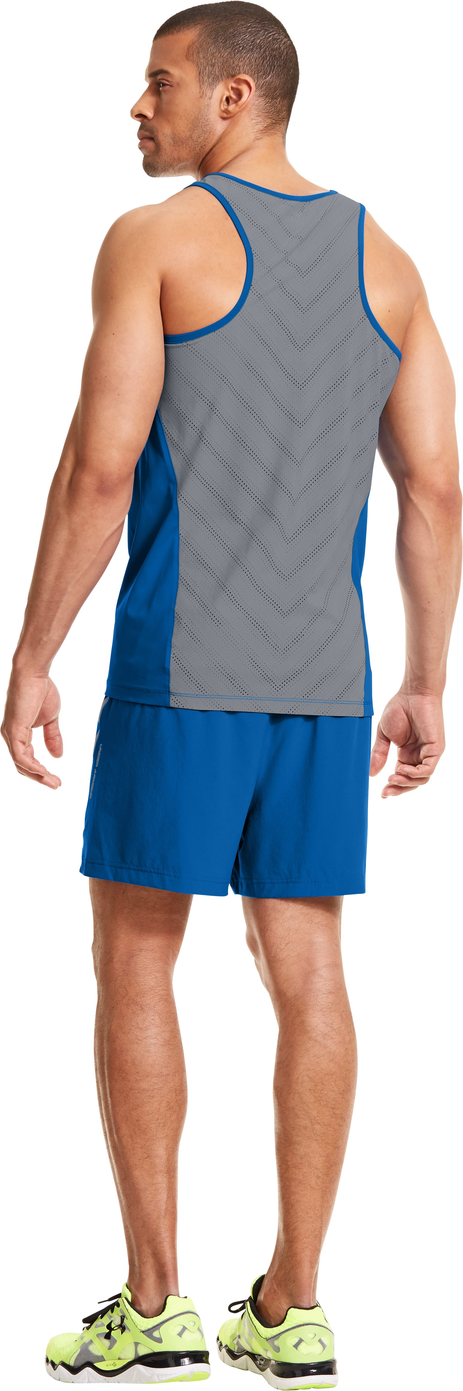 Men's HeatGear® ArmourVent™ Run Shorts, SUPERIOR BLUE, Back