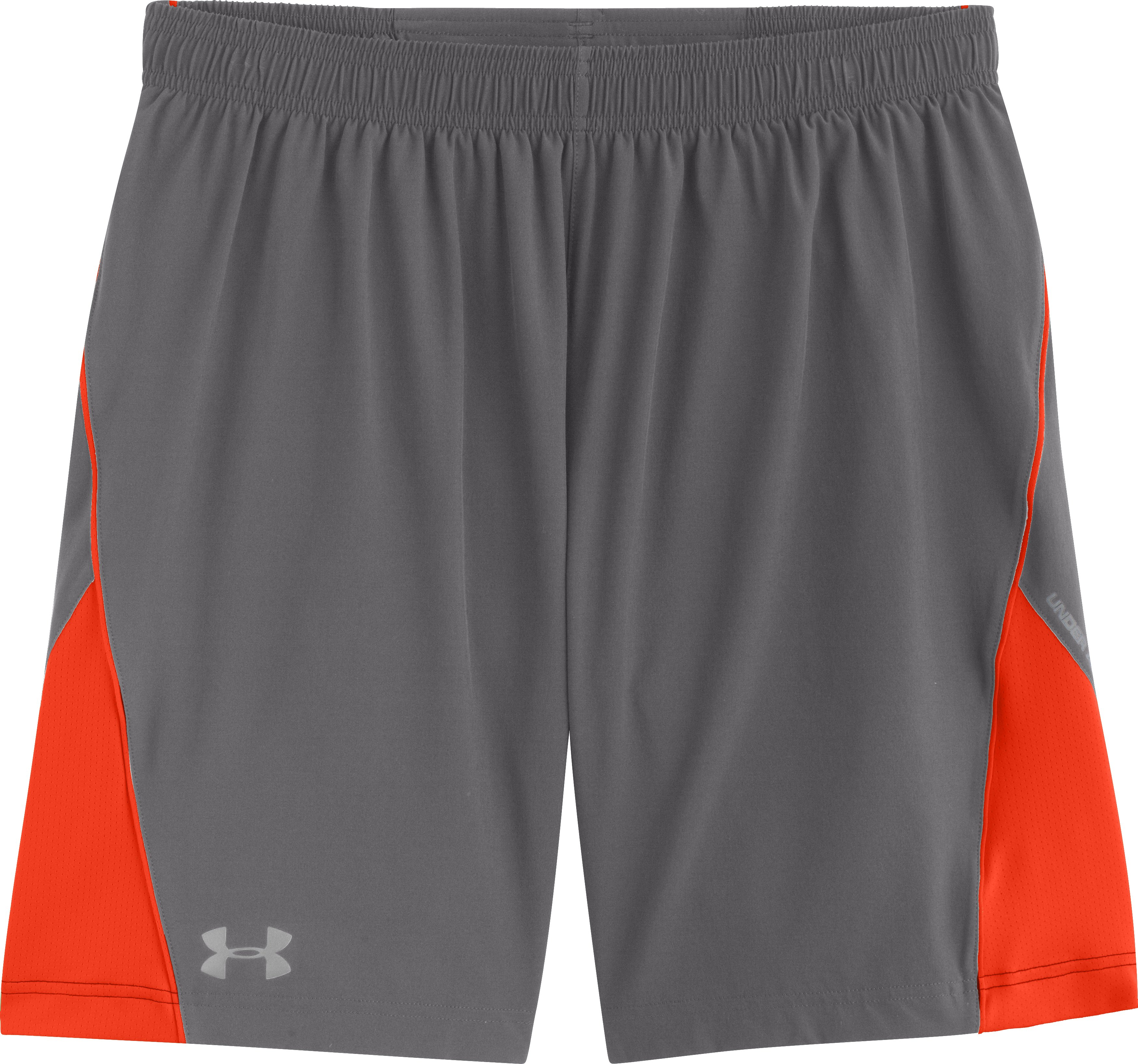 "Men's UA HeatGear® Flyweight Run 7"" Shorts, Graphite, Laydown"