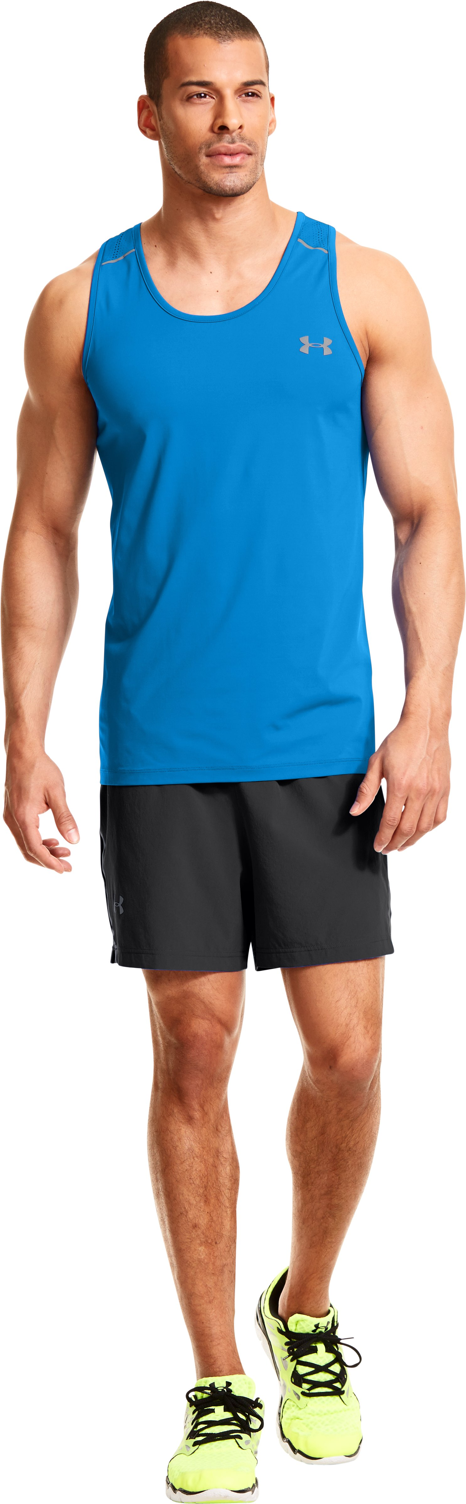 Men's HeatGear® ArmourVent™ Run Singlet, ELECTRIC BLUE, Front