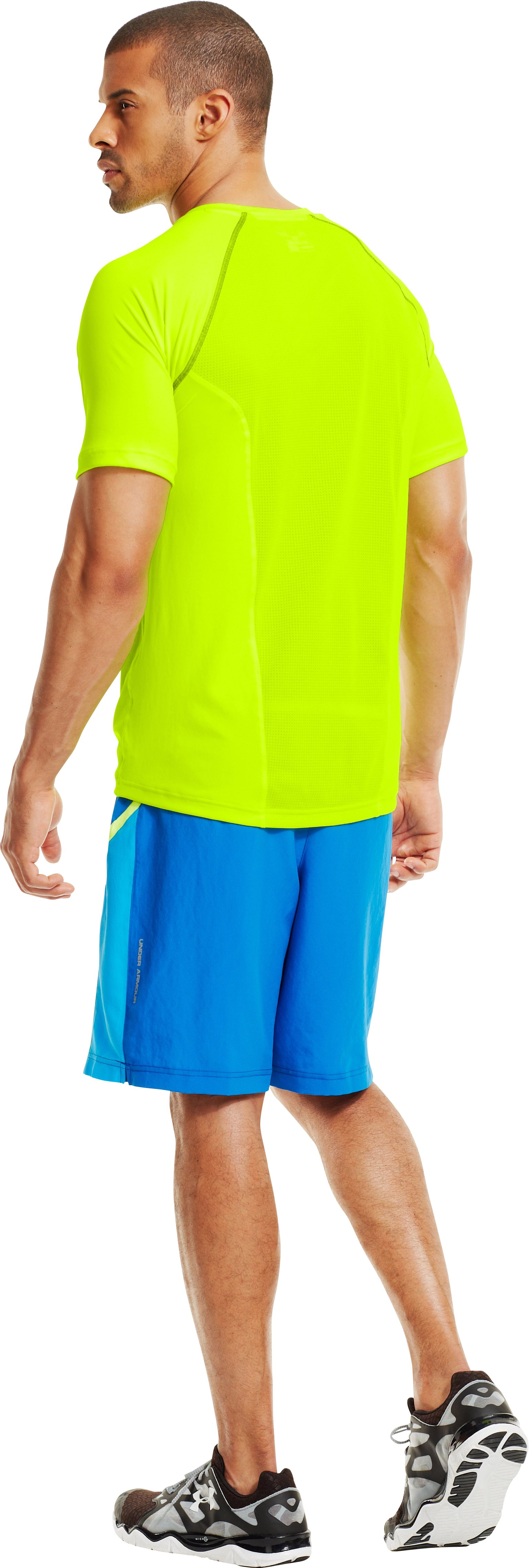 Men's UA Run Short Sleeve, High-Vis Yellow, Back
