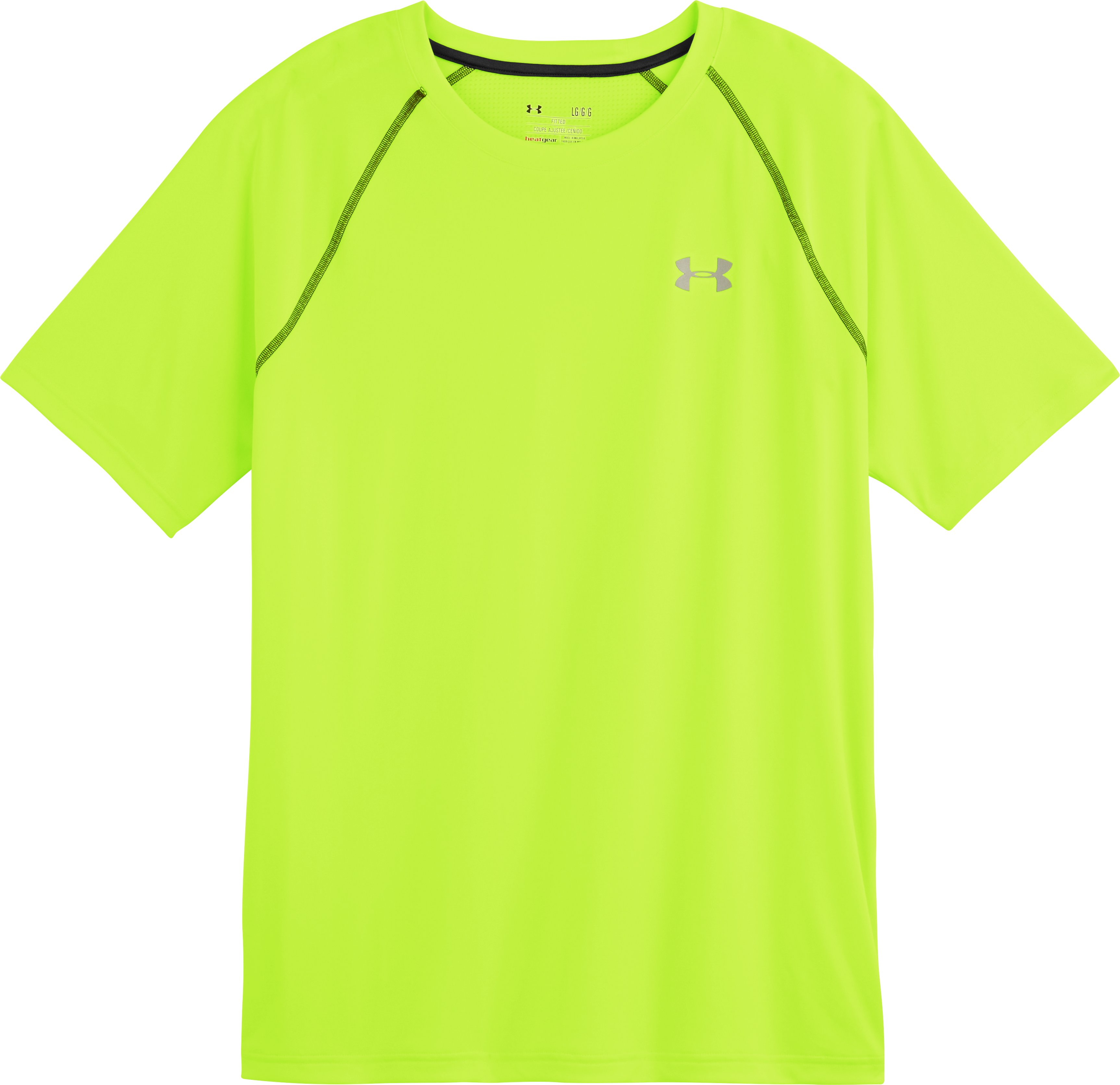 Men's UA Run Short Sleeve, High-Vis Yellow, Laydown