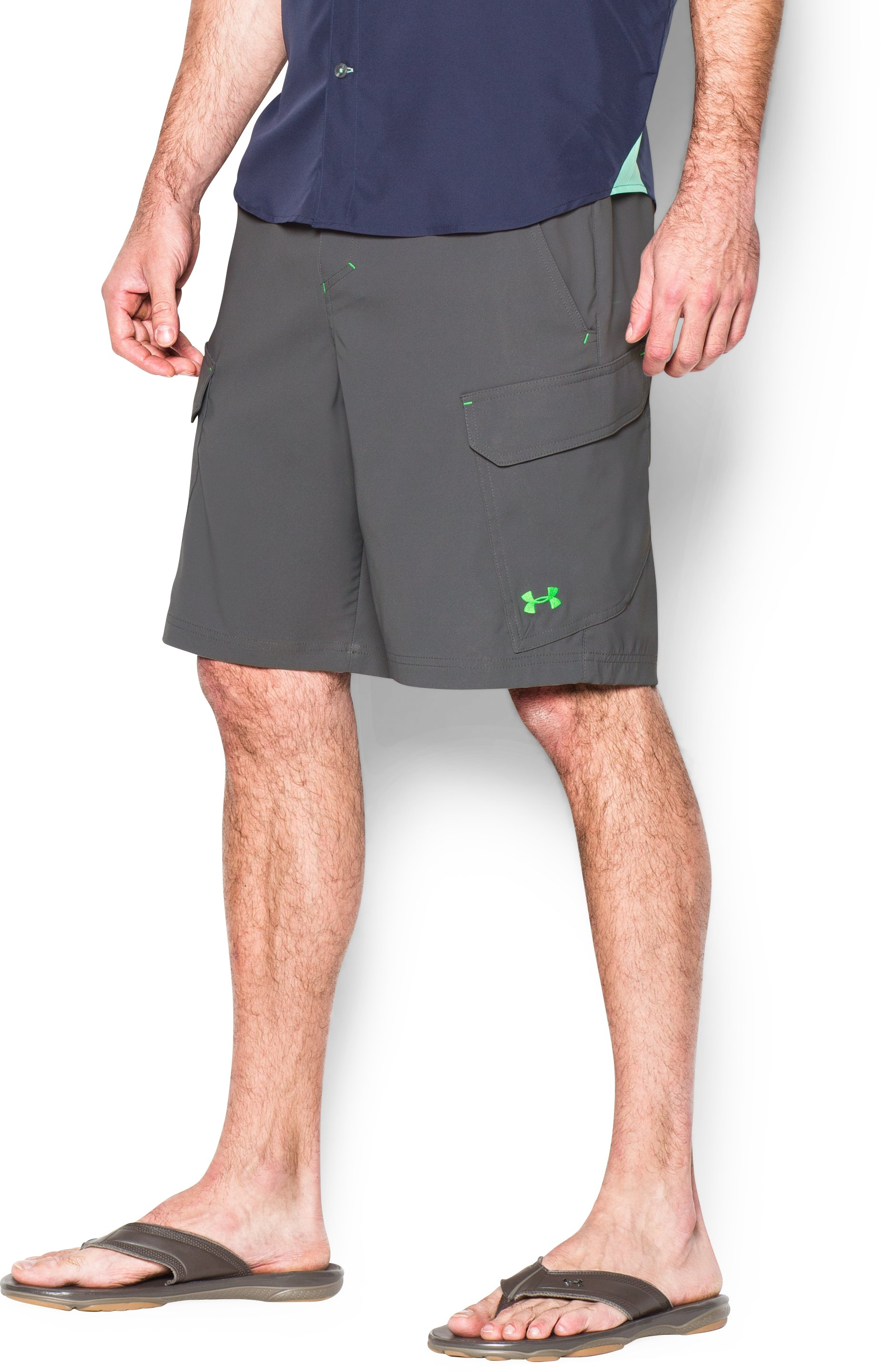Men's UA Fish Hunter Cargo Shorts, GRANITE