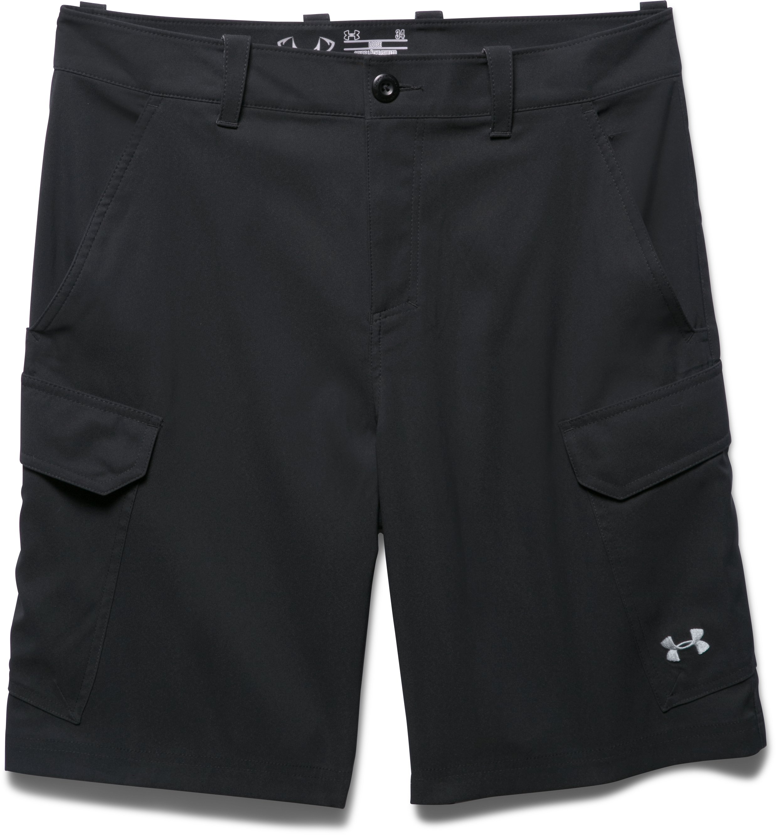 Men's UA Fish Hunter Cargo Shorts, Black , Laydown