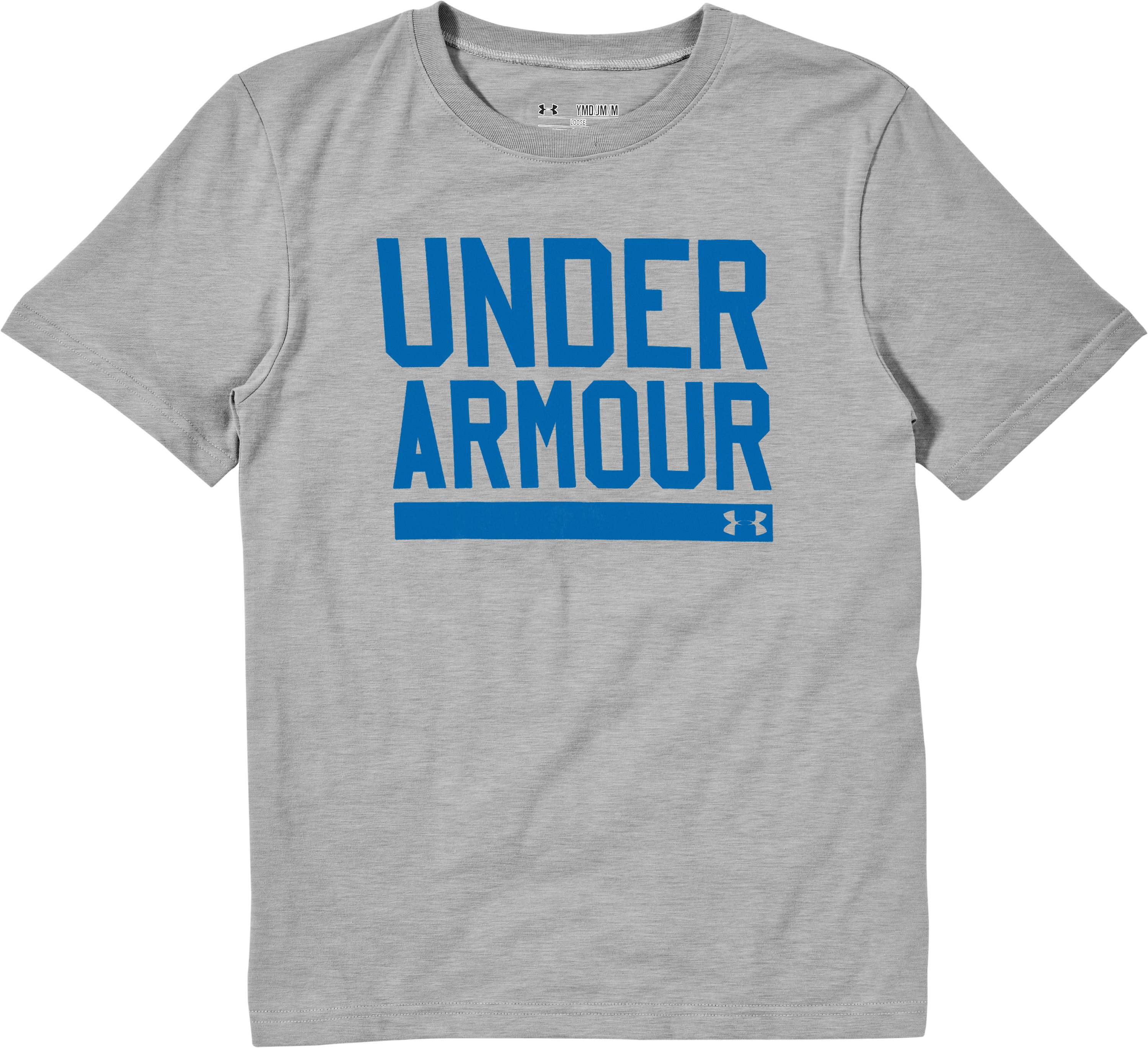 Boys' UA Script T-Shirt, True Gray Heather, Laydown