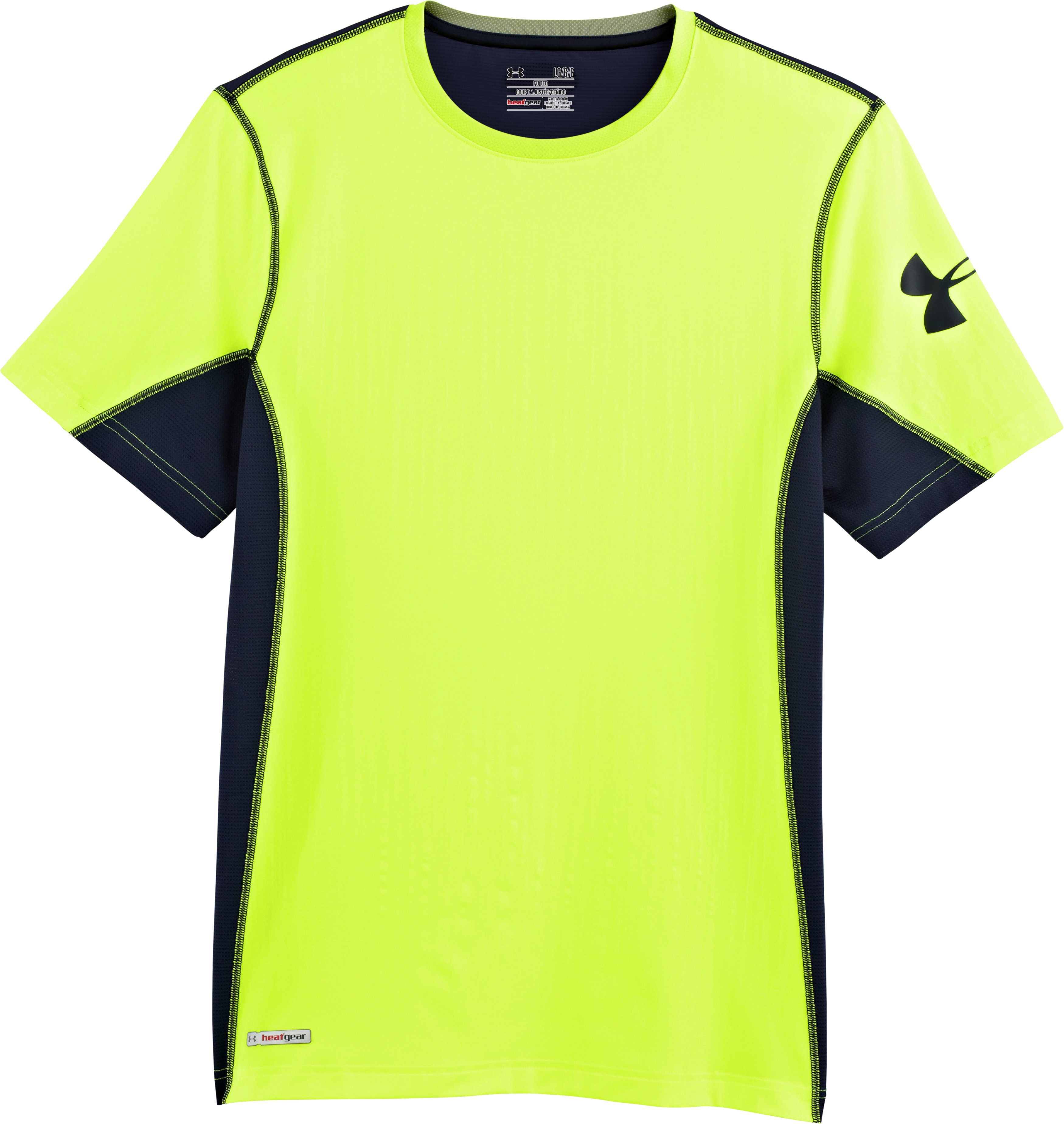 Men's HeatGear® Sonic Fitted Printed Short Sleeve, High-Vis Yellow, Laydown