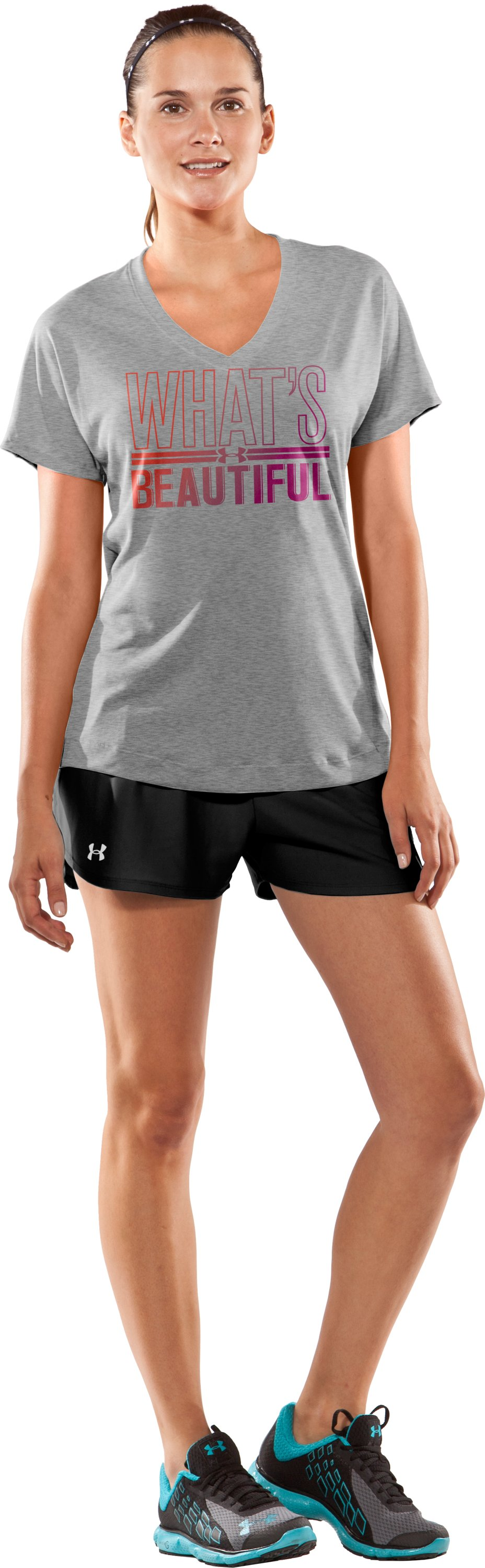 Women's UA What's Beautiful Short Sleeve, True Gray Heather, Front