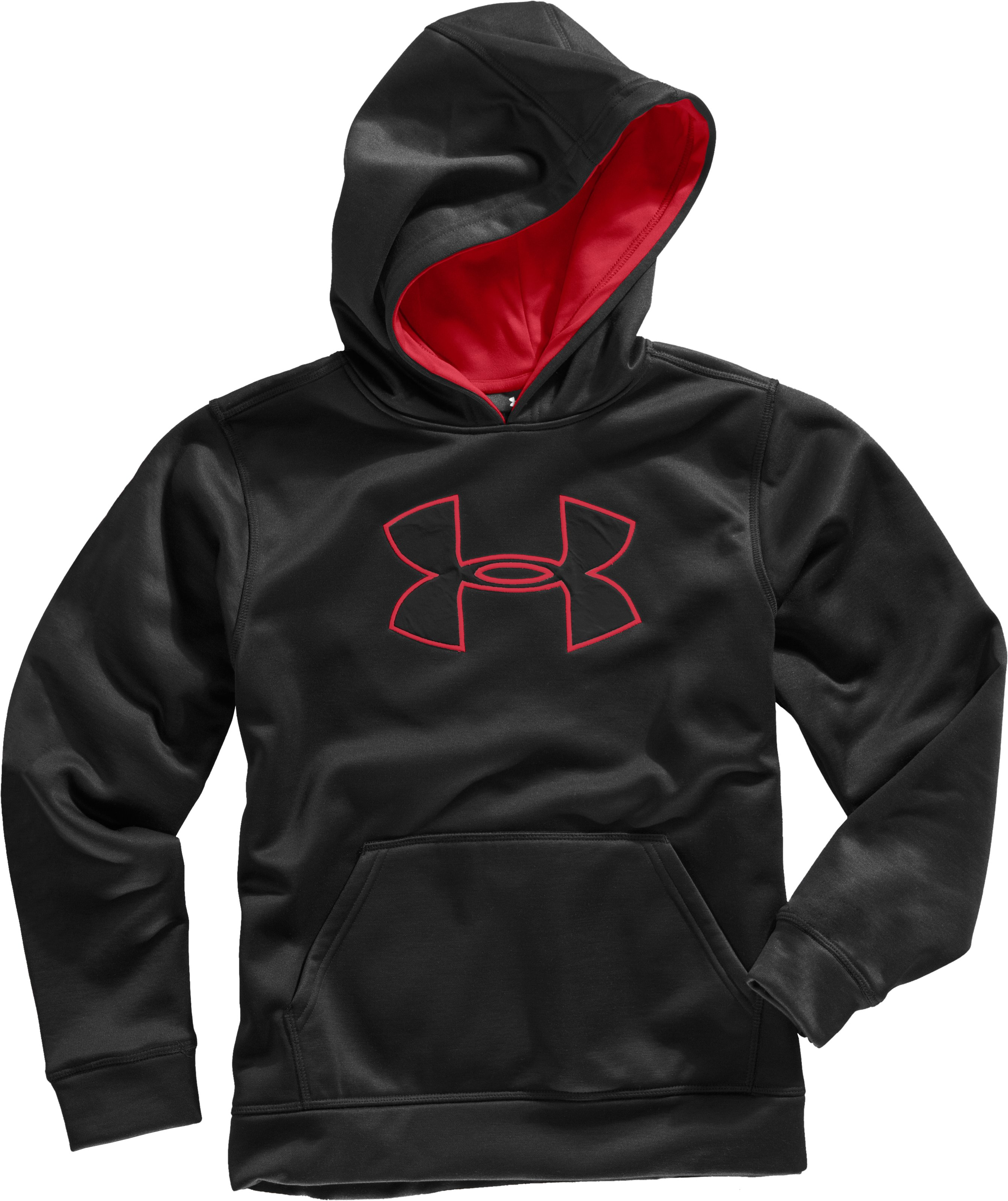 Boys' Armour® Fleece Bolt Pullover Hoodie, Black , Laydown