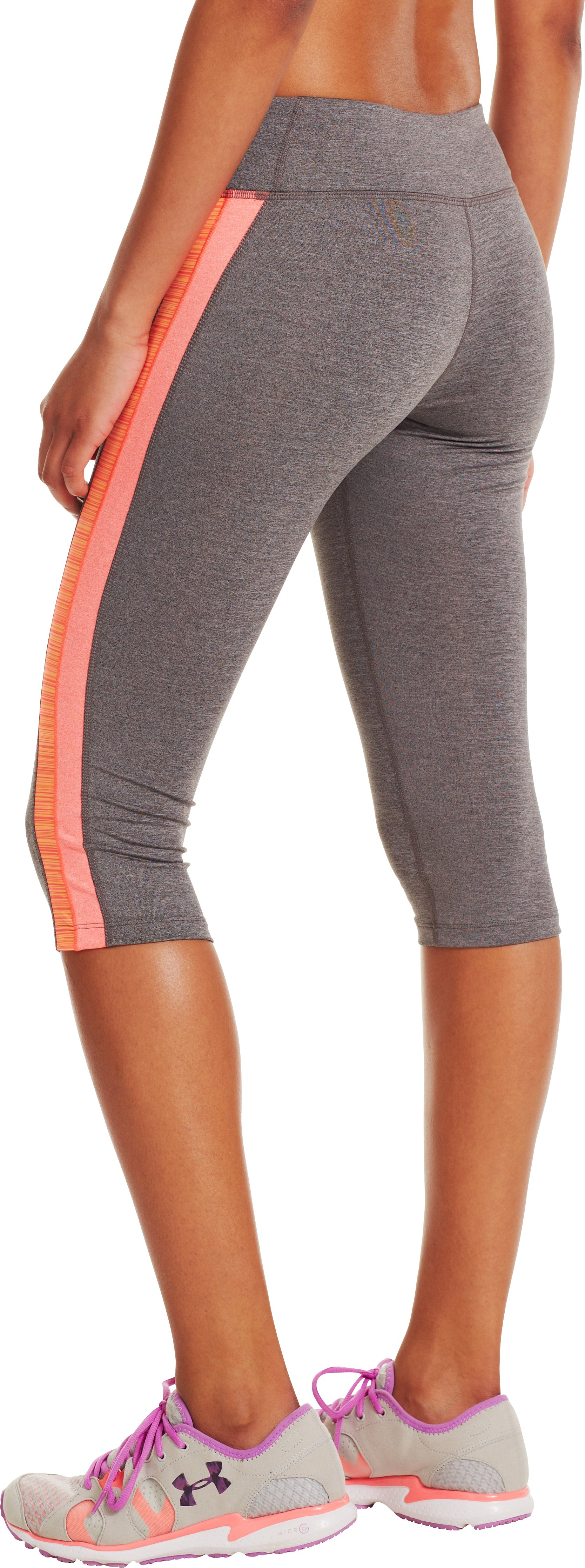 Women's HeatGear® Sonic Varsity Capri, Carbon Heather