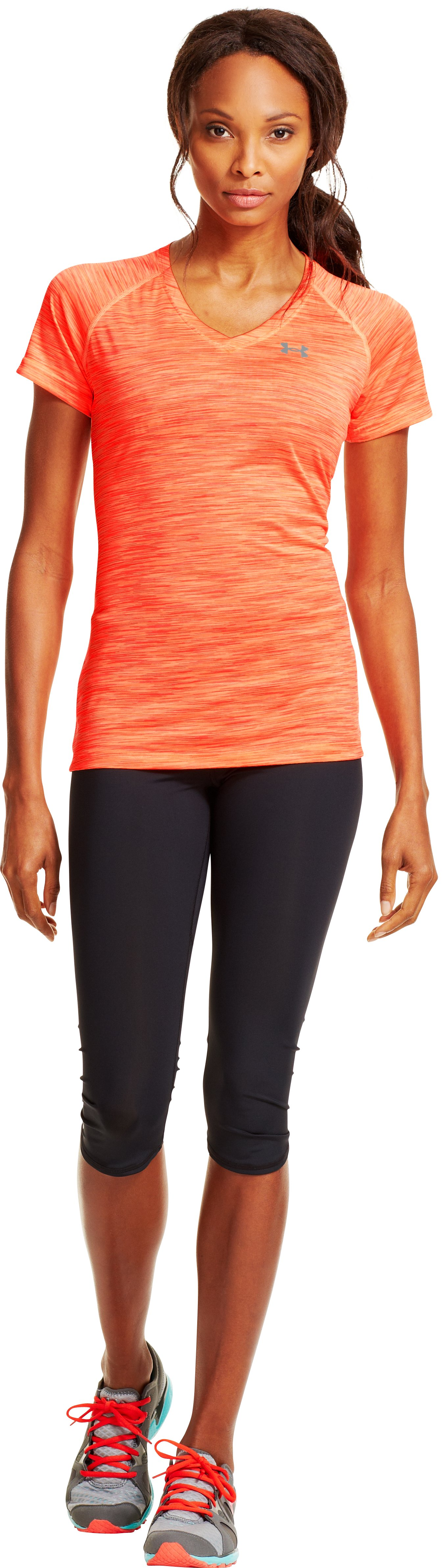 Women's UA Tech™ Space Dye T-Shirt, Afterglow, Front